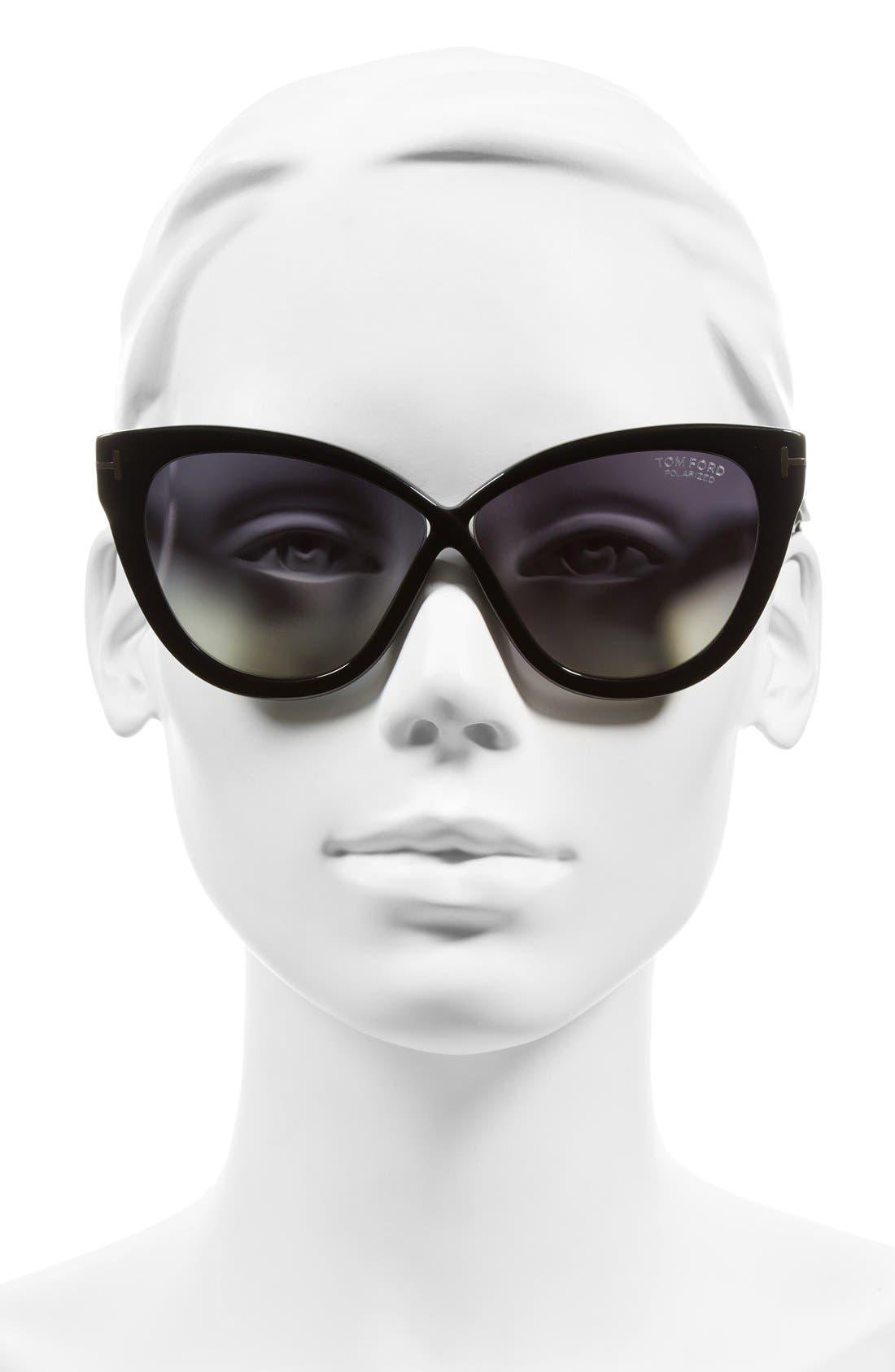 Arabella 59mm Cat Eye Sunglasses,                             Alternate thumbnail 2, color,                             Black/ Polar Gradient Smoke