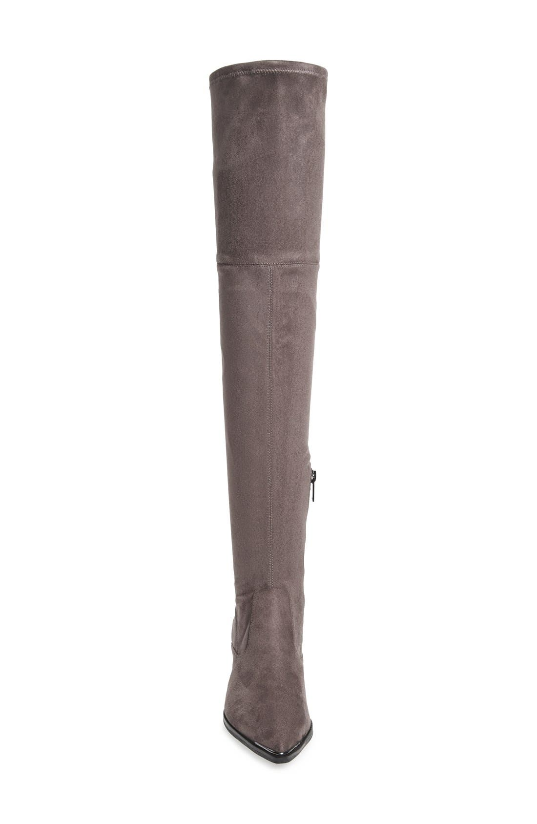 Yenna Over the Knee Boot,                             Alternate thumbnail 3, color,                             Grey Stretch Fabric