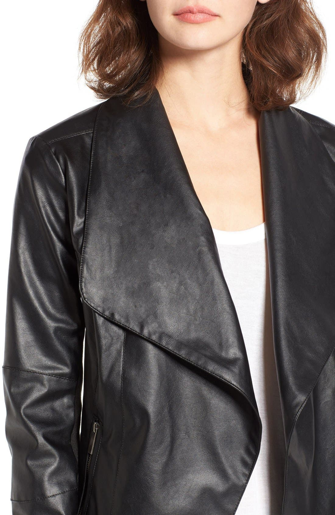 Alternate Image 4  - Coffee Shop Drape Faux Leather Jacket