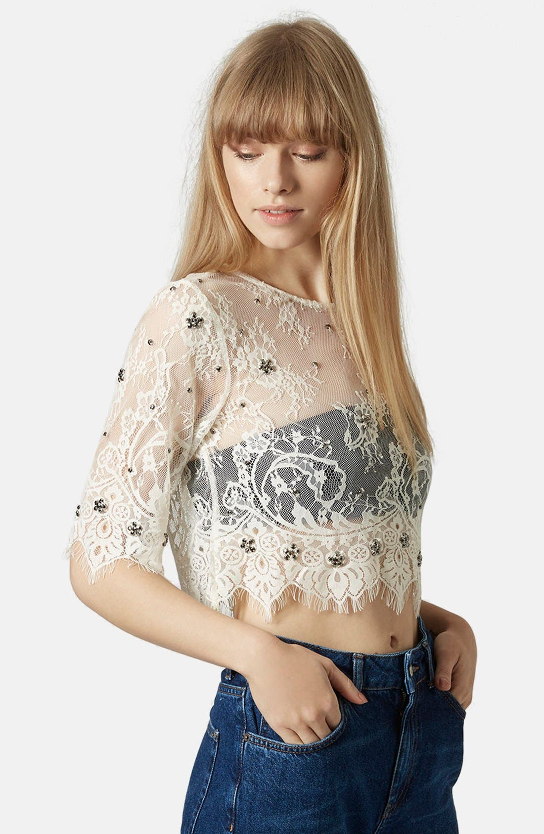 Main Image - Topshop Sheer Mesh Crop Top