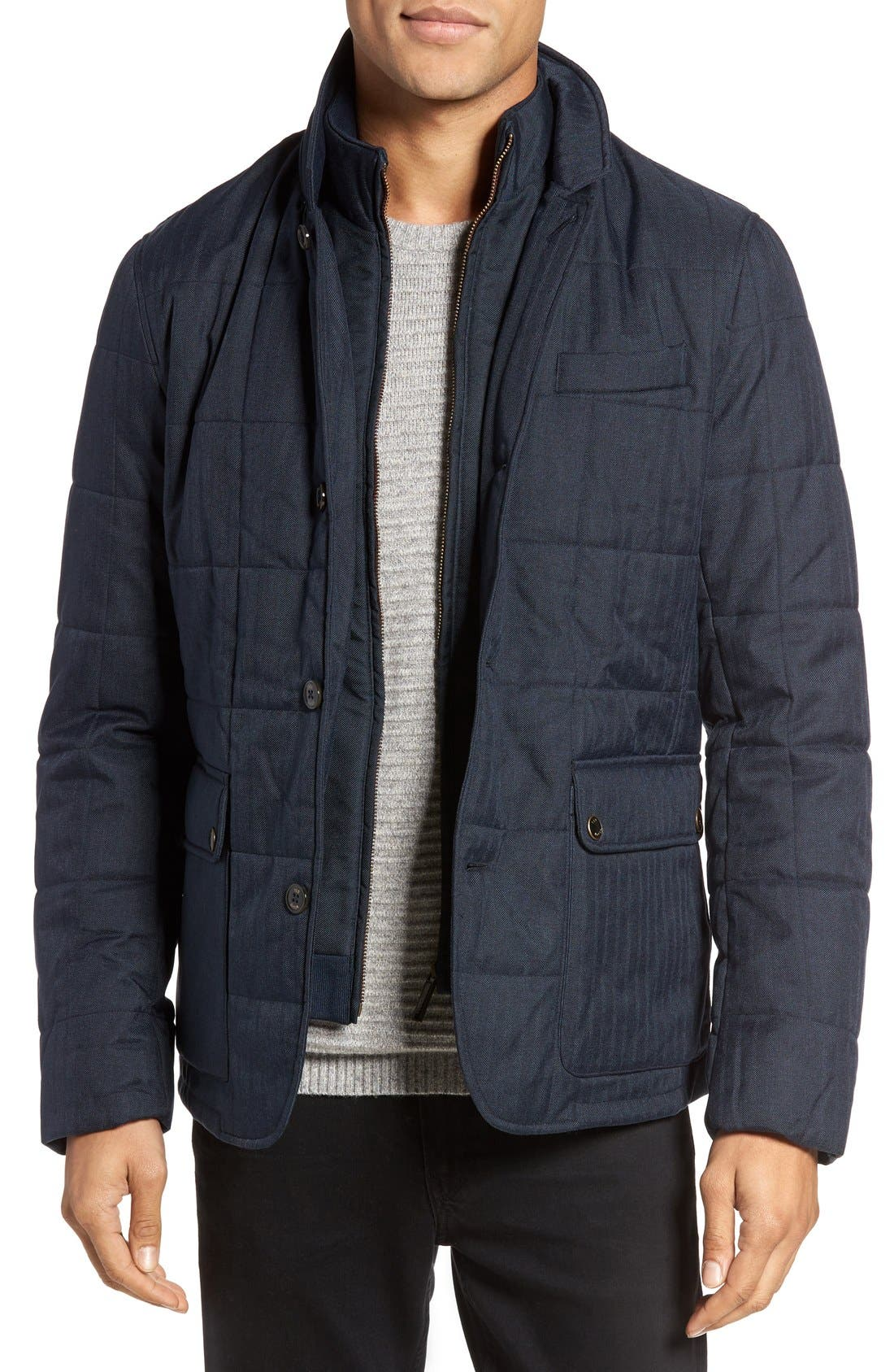 Jasper Trim Fit Quilted Jacket with Removable Bib,                         Main,                         color, Navy
