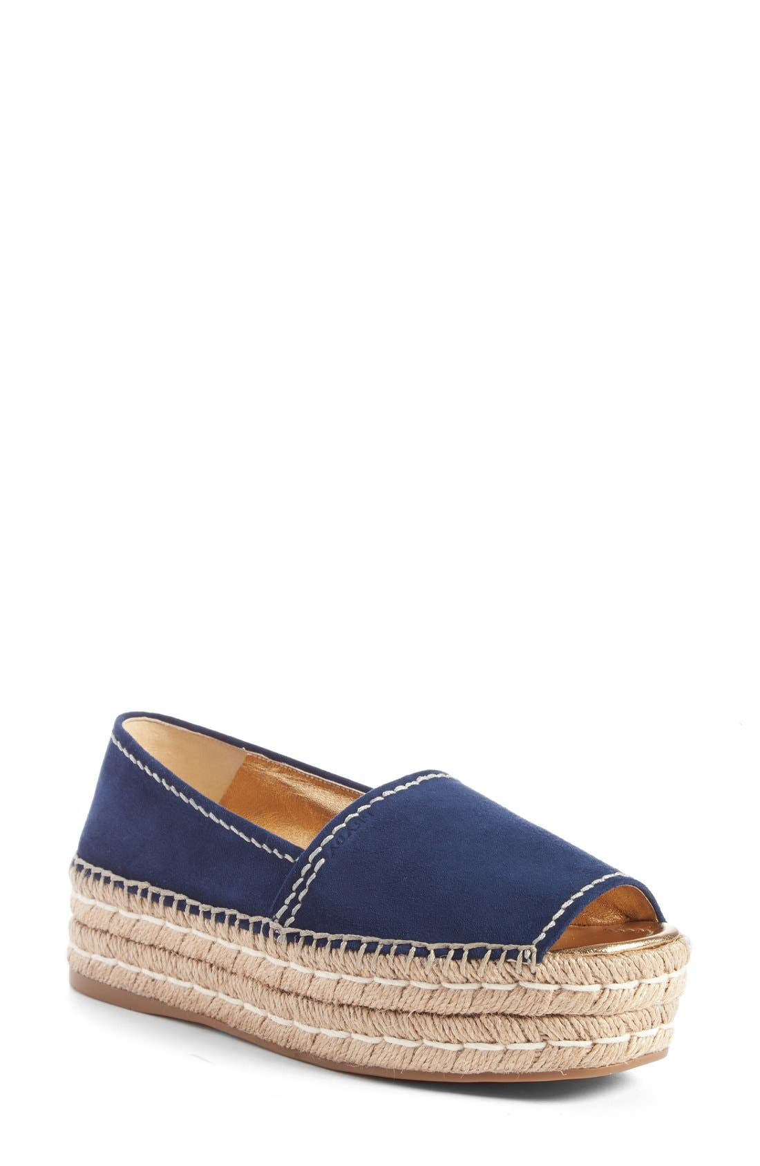 Peep Toe Leather Espadrille,                             Main thumbnail 1, color,                             Navy Suede