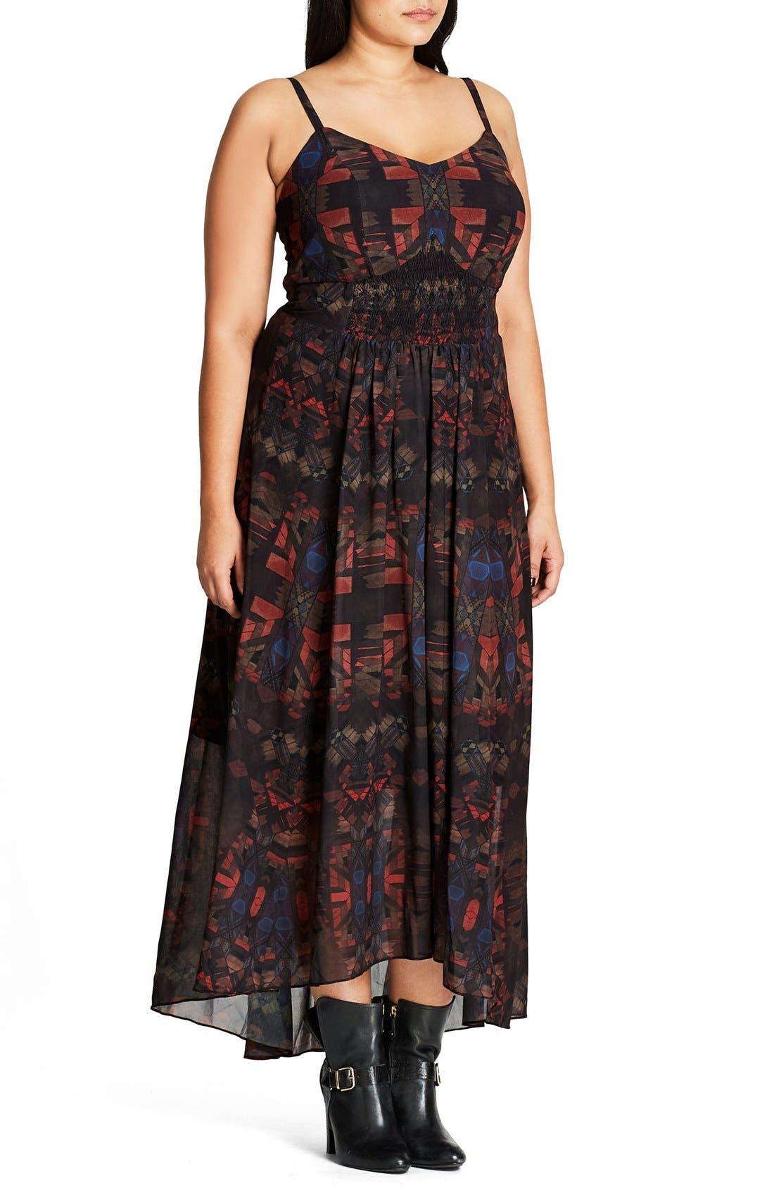 Aztec Warrior Smocked Waist Maxi Dress,                         Main,                         color, Black