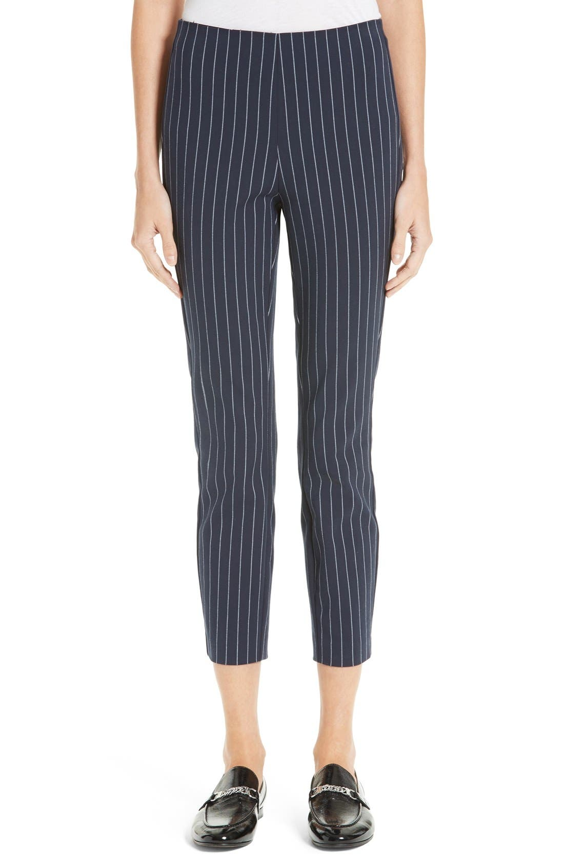 Simone Pinstripe Pants,                         Main,                         color, Salute/ White