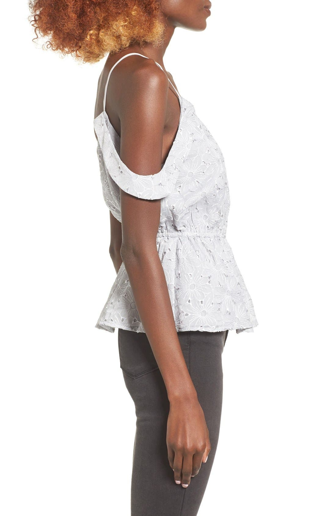 Alternate Image 3  - Storee Off the Shoulder Peplum Tank