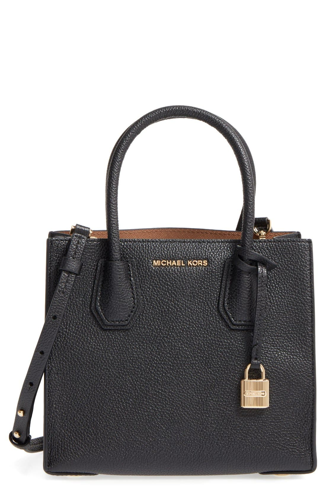 Mercer Leather Crossbody Bag,                         Main,                         color, Black/ Gold