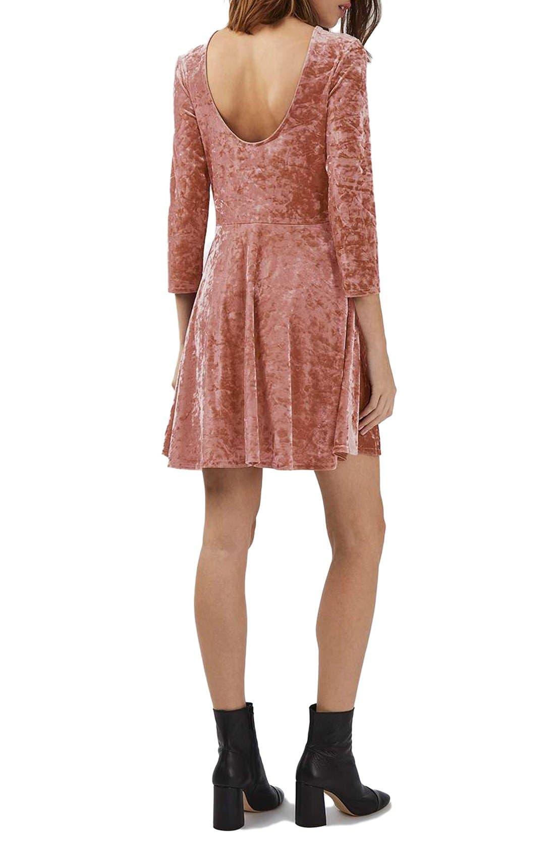 Crushed Velvet Dress,                             Alternate thumbnail 3, color,                             Pink