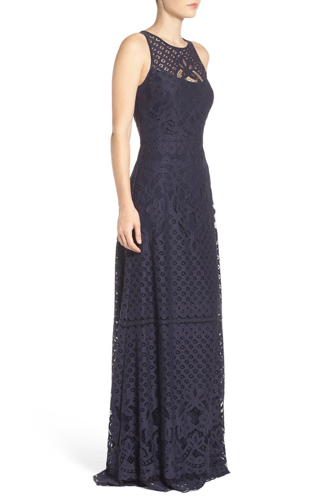 Alternate Image 3  - Vera Wang Illusion Yoke Lace Maxi Dress