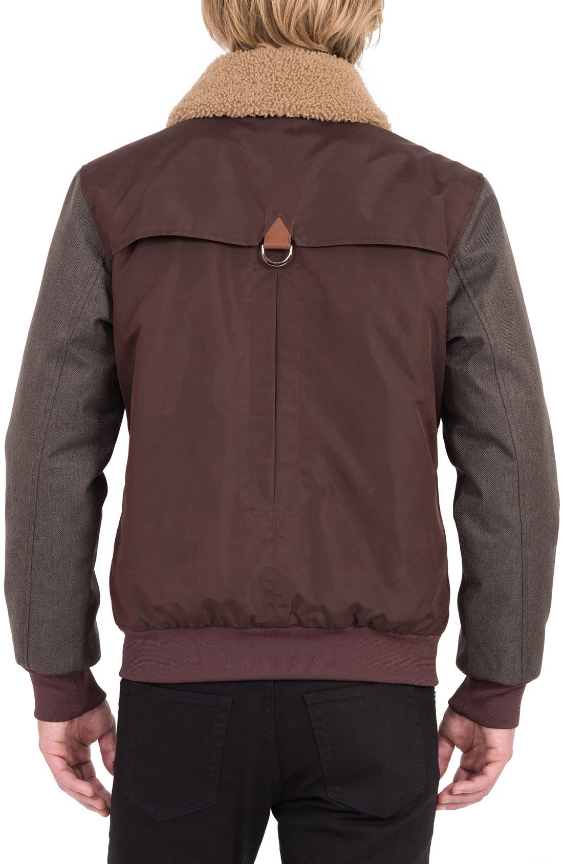 Waxed Nylon Jacket with Faux Shearling Collar,                             Alternate thumbnail 2, color,                             Burgundy/ Acorn