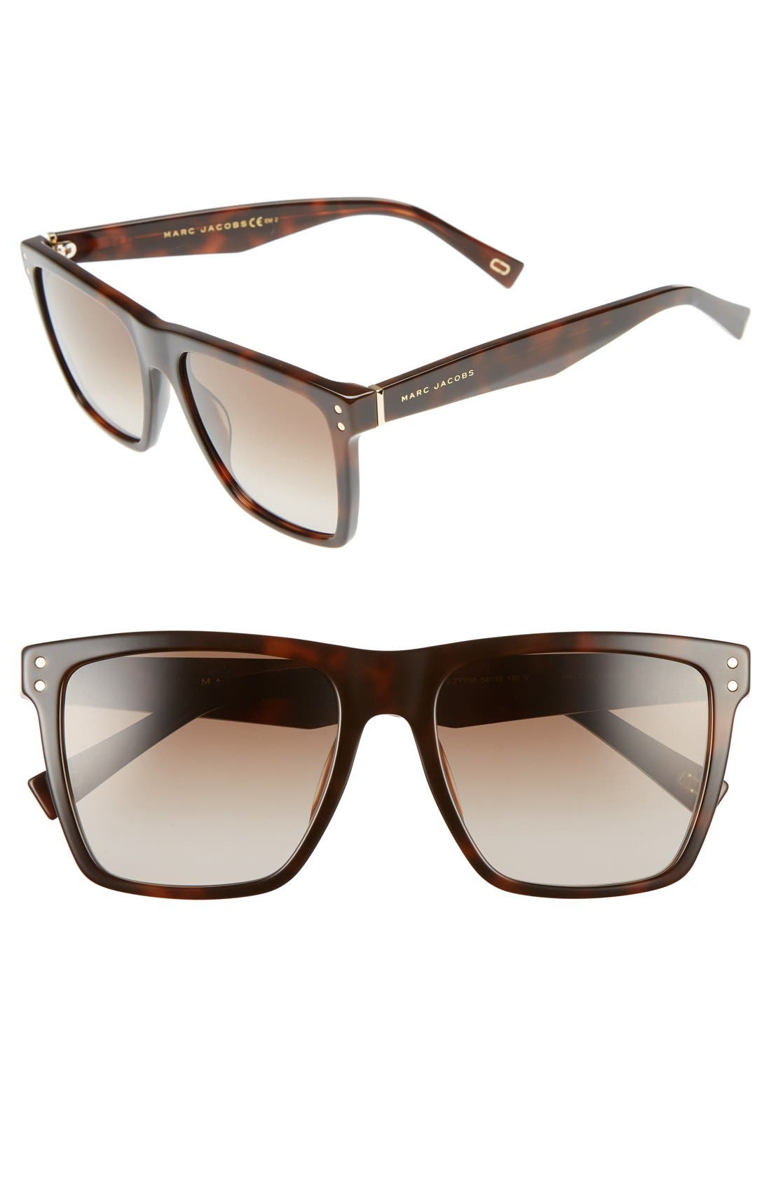 Alternate Image 1 Selected - MARC JACOBS 54mm Flat Top Gradient Square Frame Sunglasses