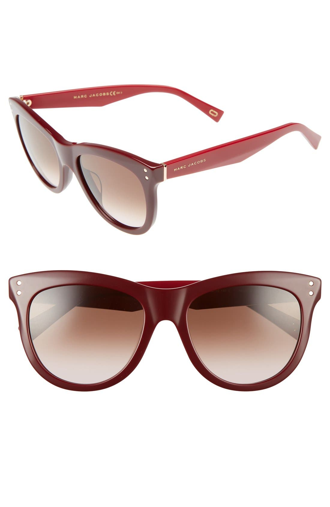 54mm Sunglasses,                         Main,                         color, Burgundy