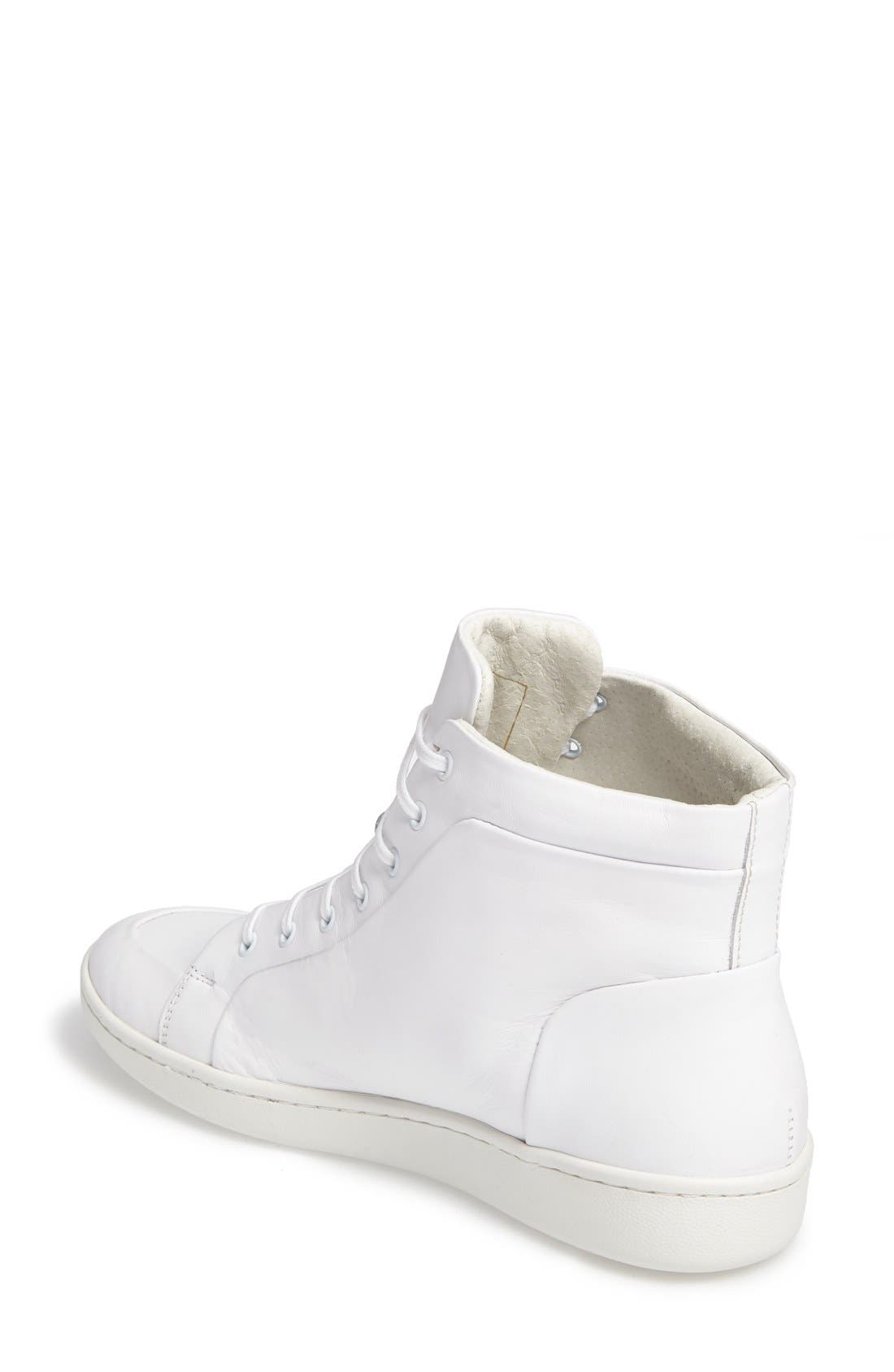 Molly High Top Sneaker,                             Alternate thumbnail 2, color,                             White Leather
