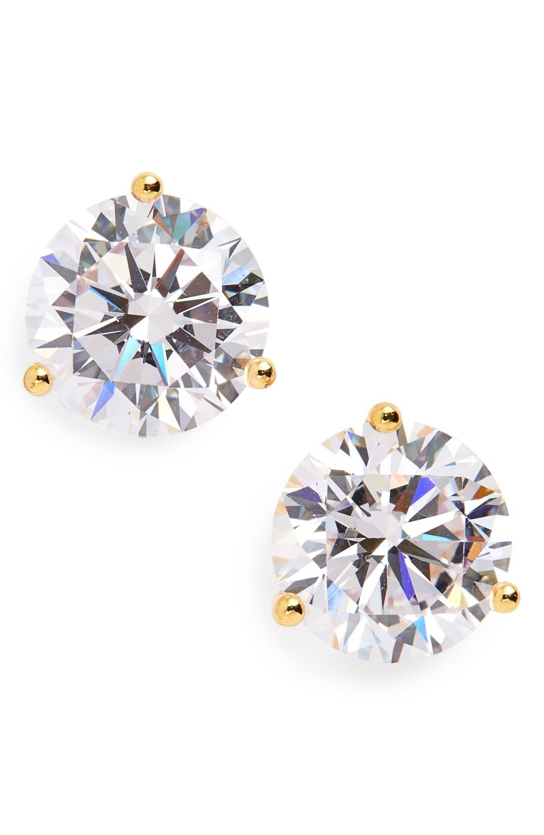 Cubic Zirconia Earrings,                             Main thumbnail 1, color,                             Clear Cz/ Gold Vermeil