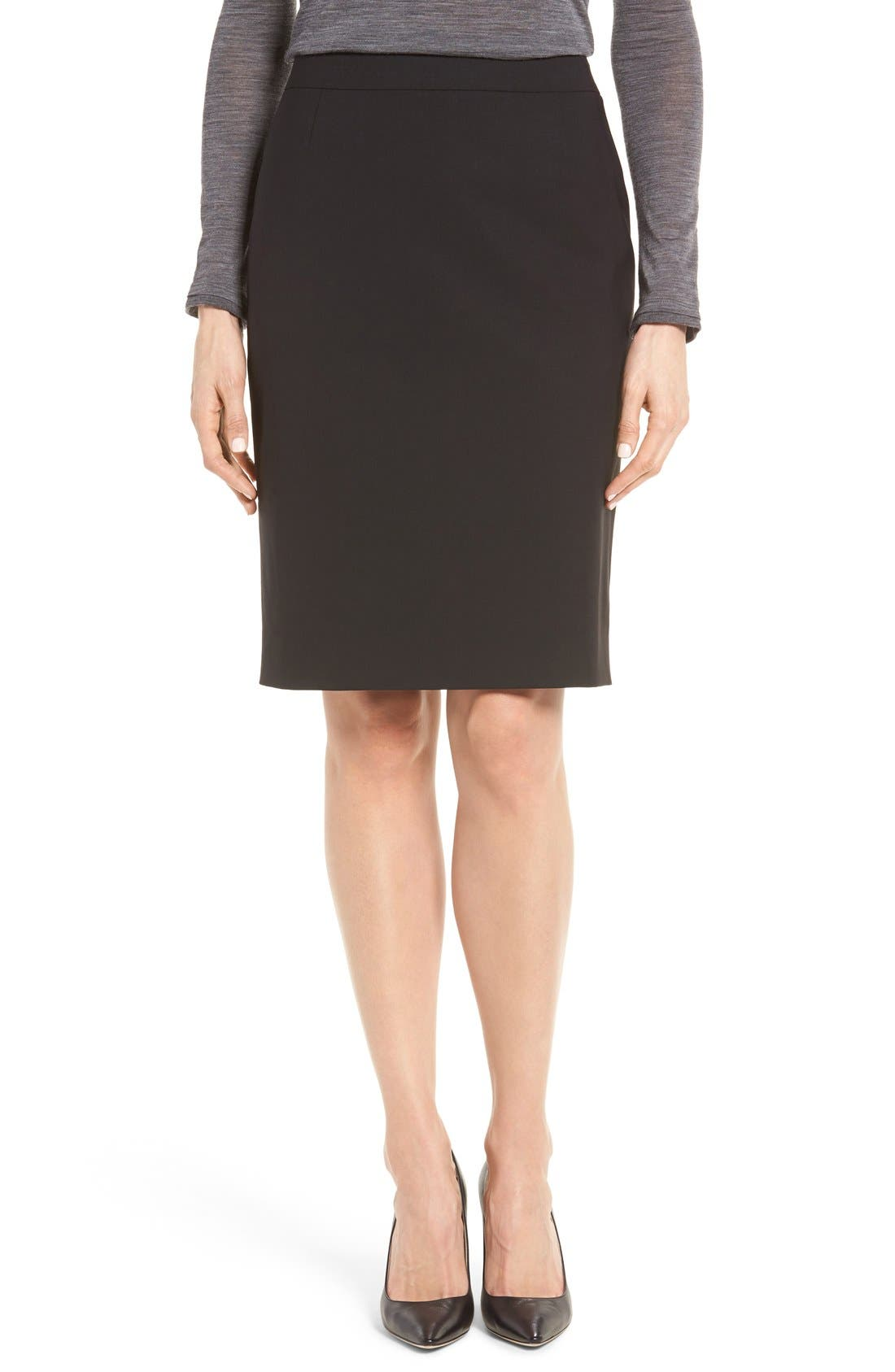 Main Image - BOSS Vilea Stretch Wool Pencil Skirt (Regular & Petite)