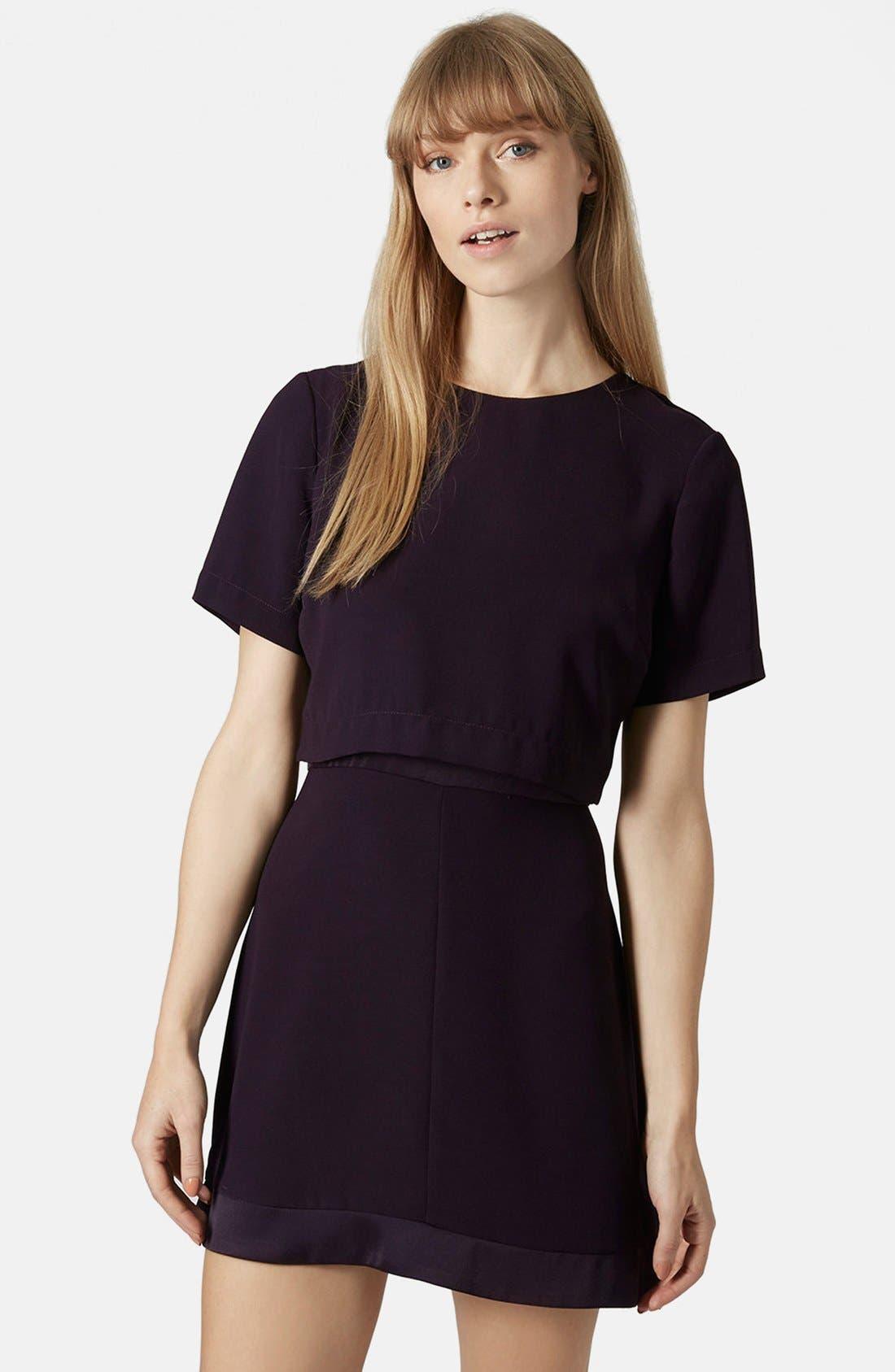 Main Image - Topshop Satin Trim Overlay Dress
