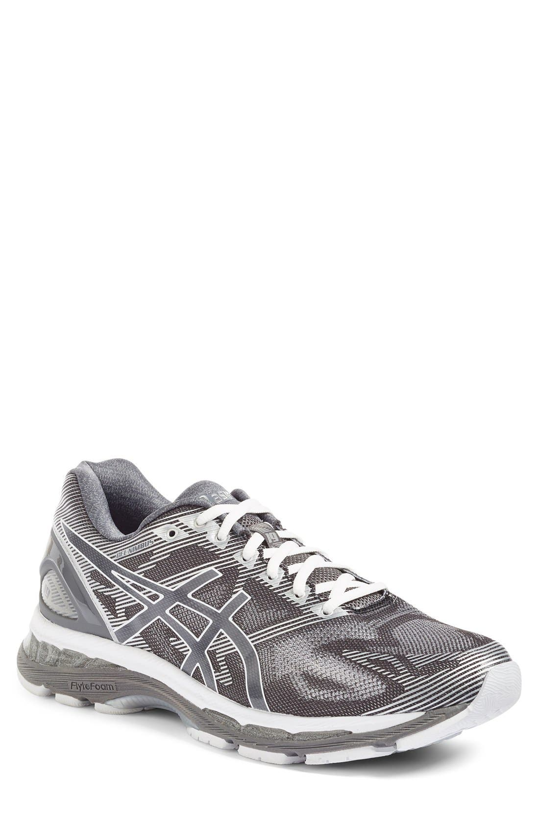 GEL<sup>®</sup>-Nimbus 19 Running Shoe,                         Main,                         color, Carbon/ White/ Silver