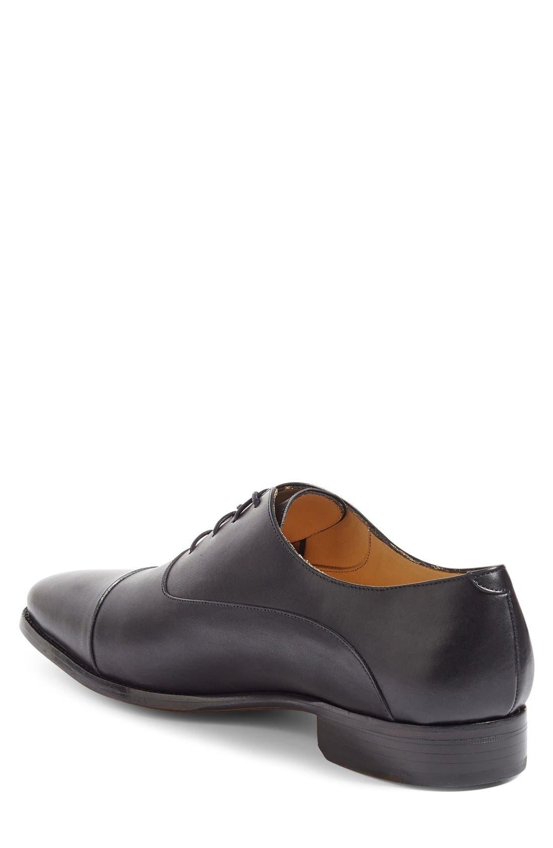 Joe Cap Toe Oxford,                             Alternate thumbnail 2, color,                             Black Leather