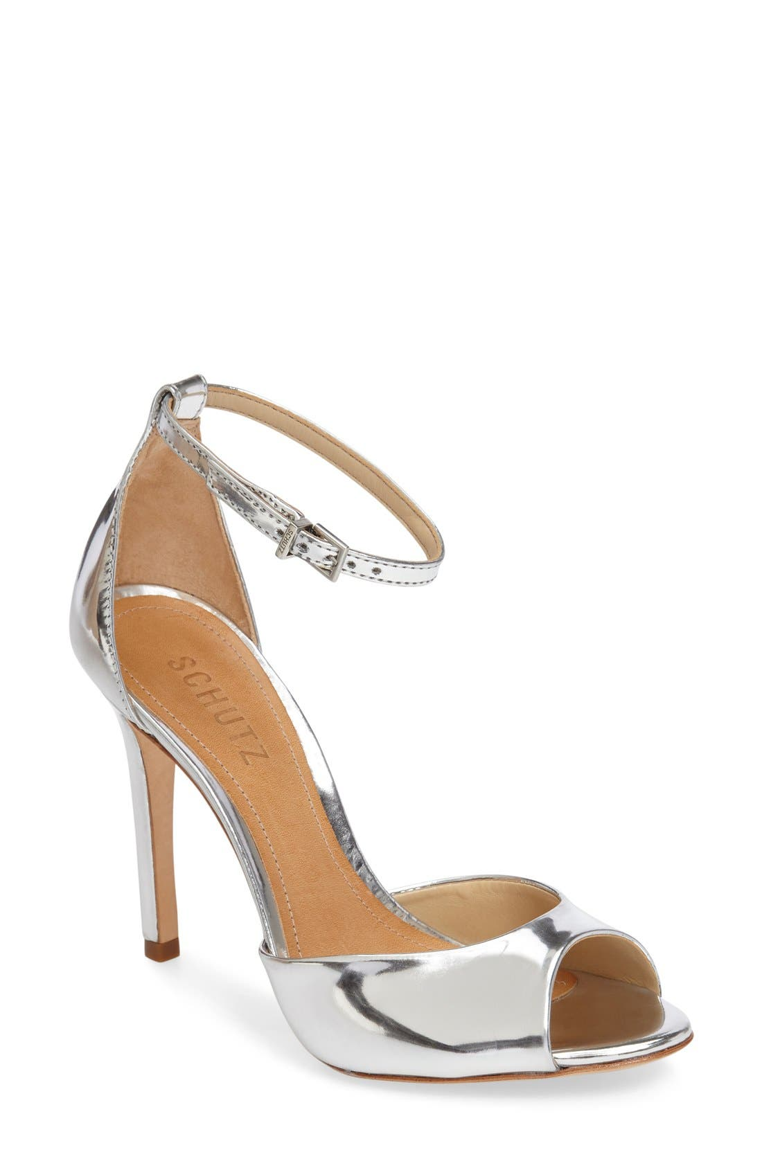 Saasha Lee Ankle Strap Sandal,                             Main thumbnail 1, color,                             Silver Leather