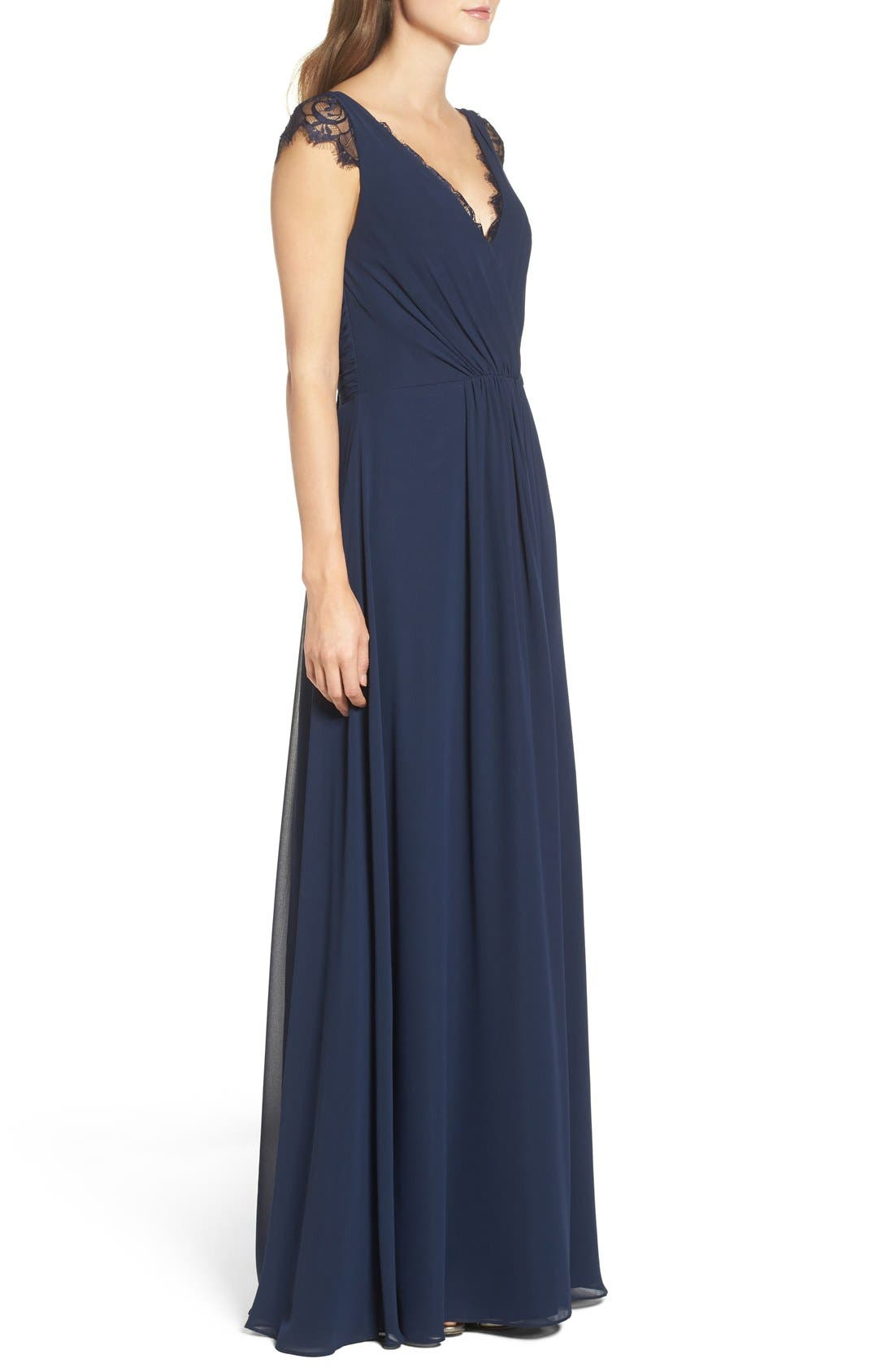 Lace & Chiffon Cap Sleeve Gown,                             Alternate thumbnail 3, color,                             Navy