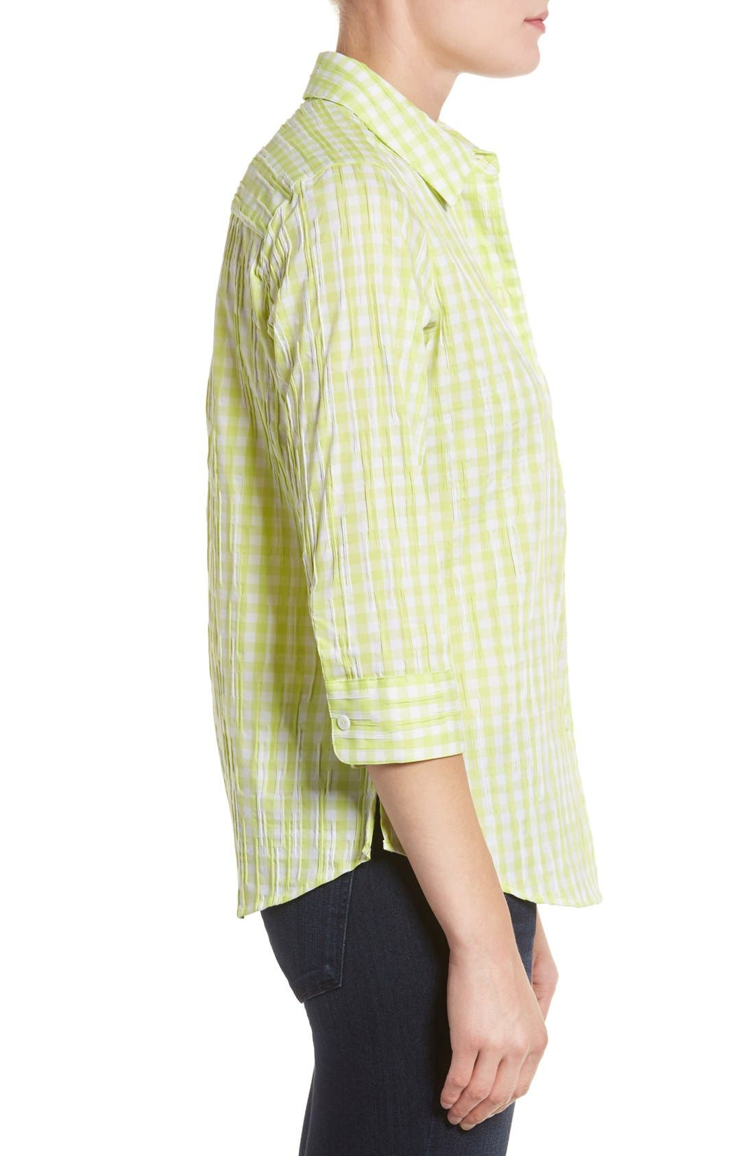 Alternate Image 3  - Foxcroft Crinkled Gingham Shirt (Regular & Petite)
