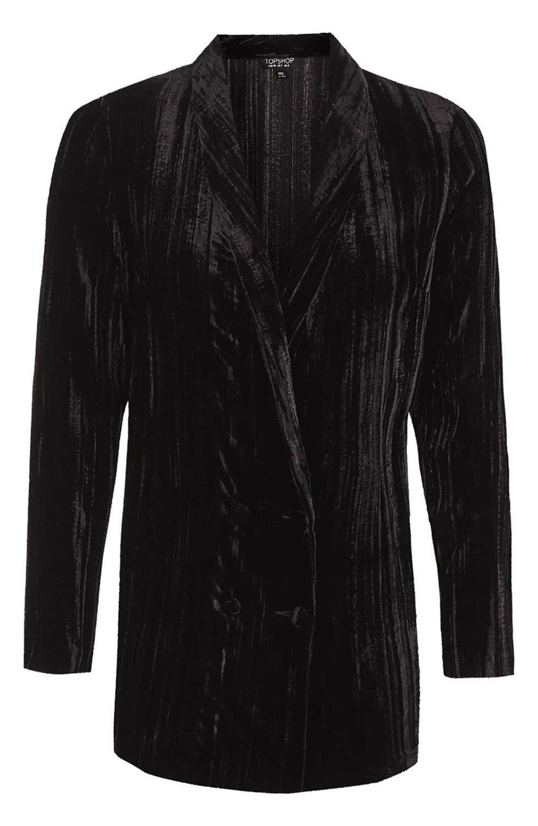 Alternate Image 4  - Topshop Pleat Velvet Blazer
