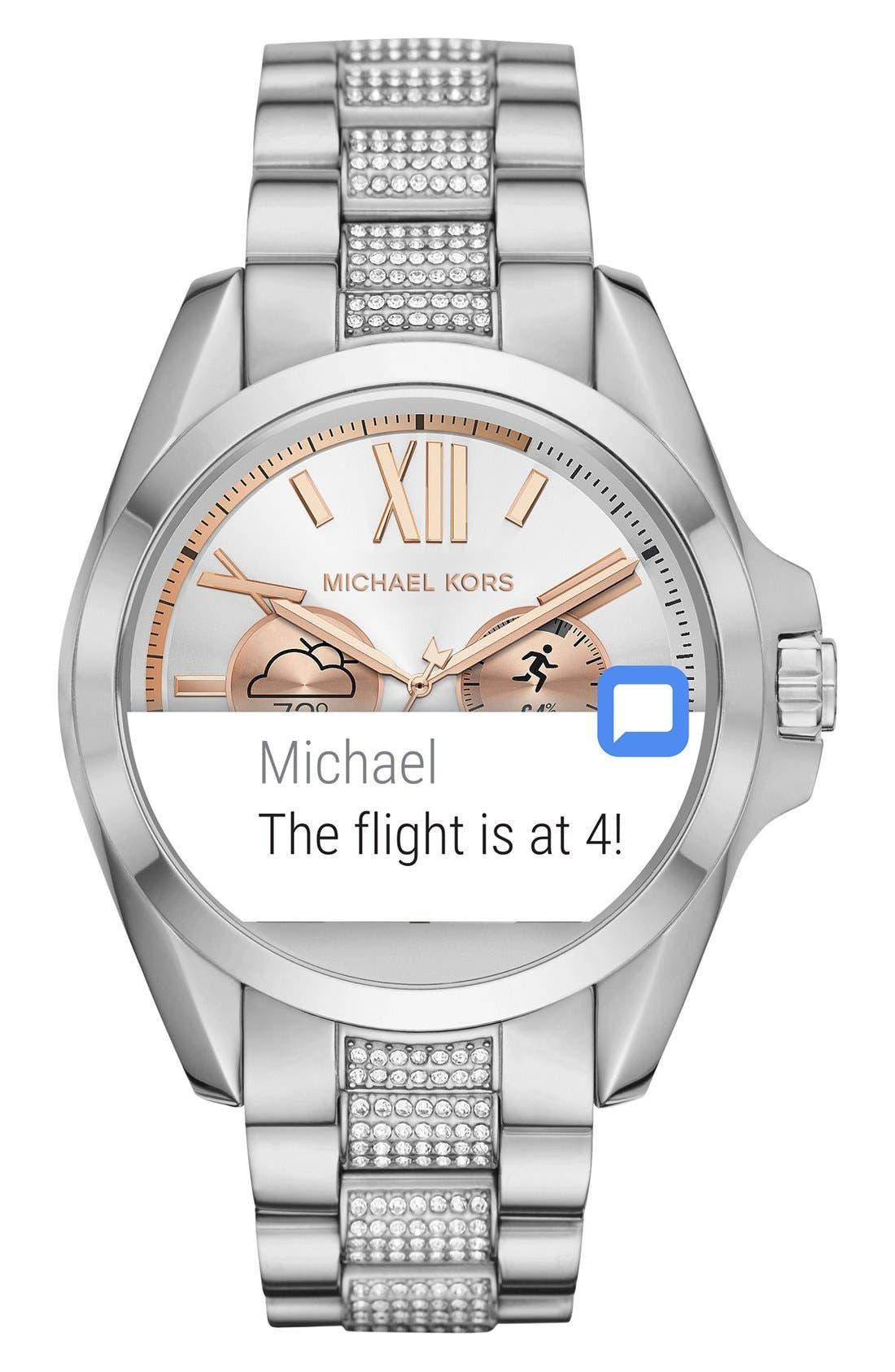 MICHAEL Michael Kors Bradshaw Access Bracelet Smart Watch, 45mm,                             Alternate thumbnail 4, color,                             Silver