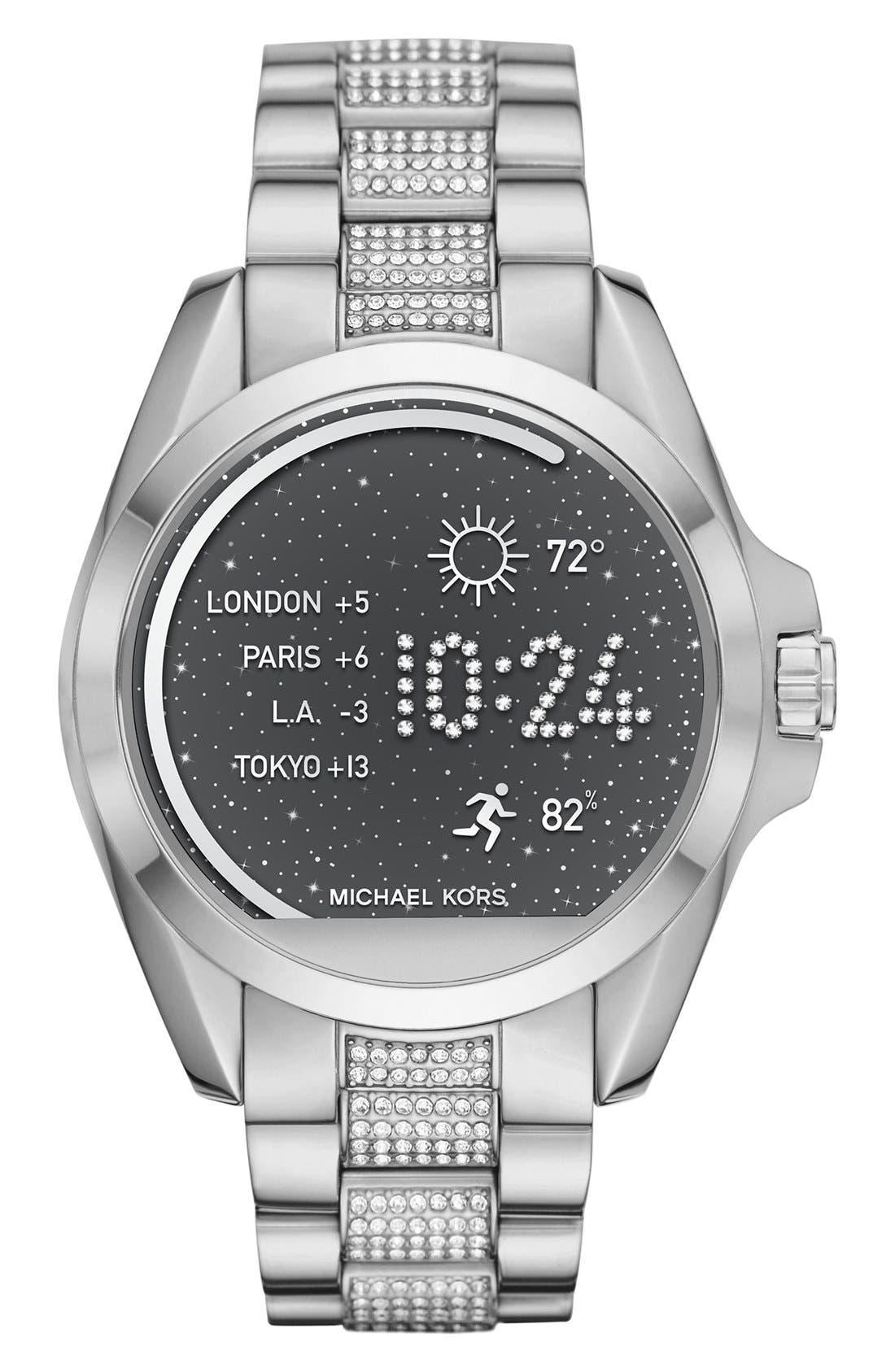 MICHAEL Michael Kors Bradshaw Access Bracelet Smart Watch, 45mm,                             Main thumbnail 1, color,                             Silver