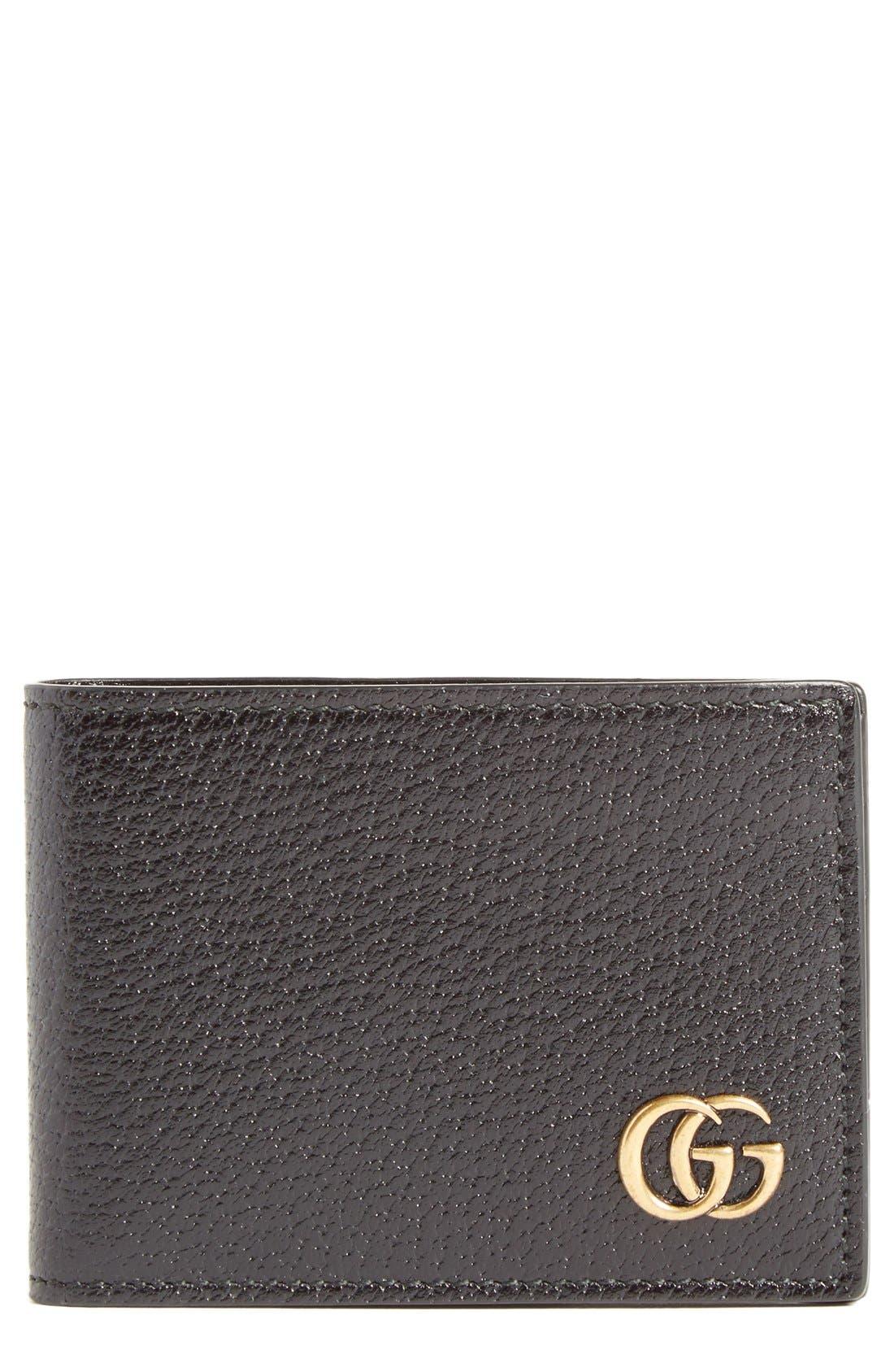 Marmont Leather Wallet,                             Main thumbnail 1, color,                             Black