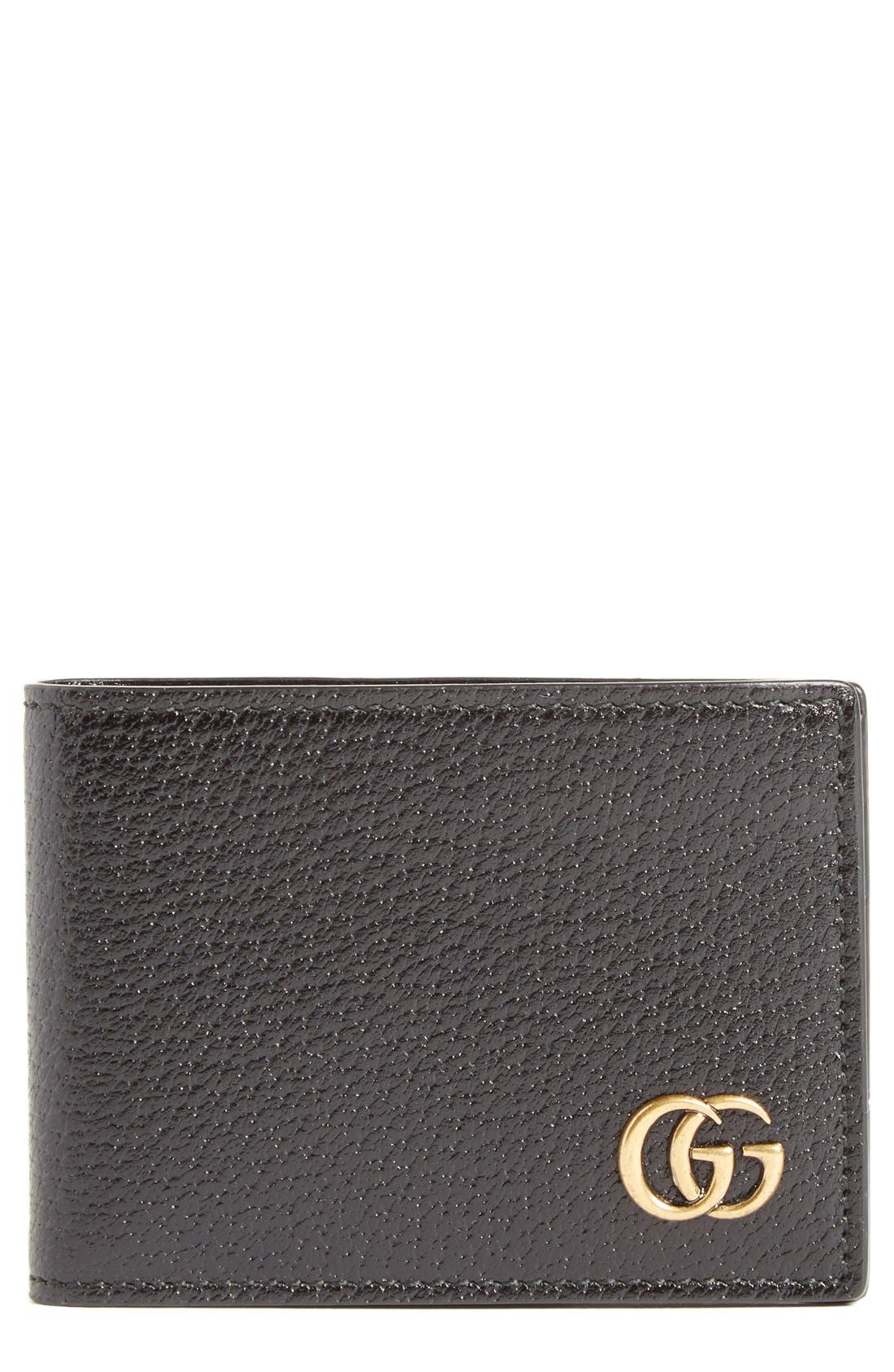 Marmont Leather Wallet,                         Main,                         color, Black