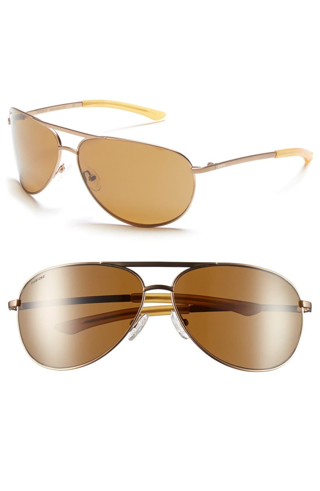 Serpico 65mm Polarized Aviator Sunglasses,                             Main thumbnail 1, color,                             Matte Desert/ Polar Brown