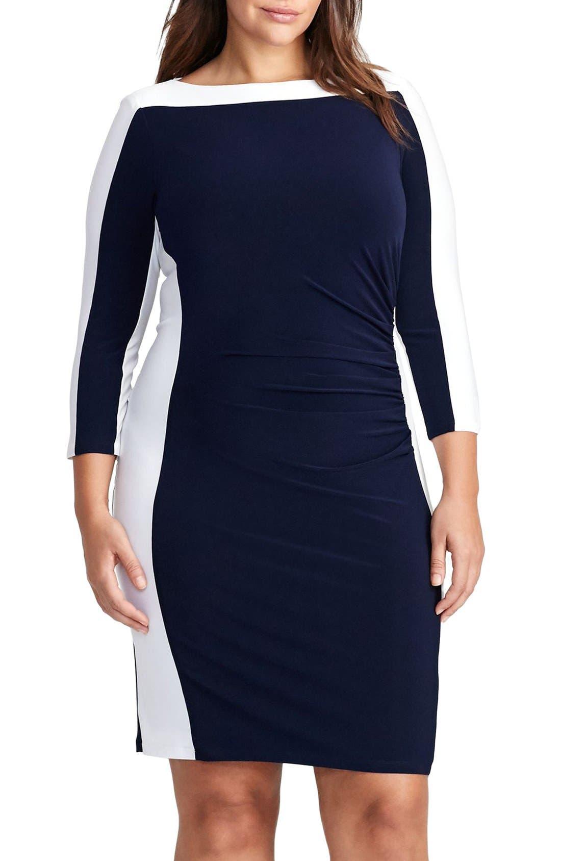 Jersey Sheath Dress,                         Main,                         color, Lighthouse Navy/ White