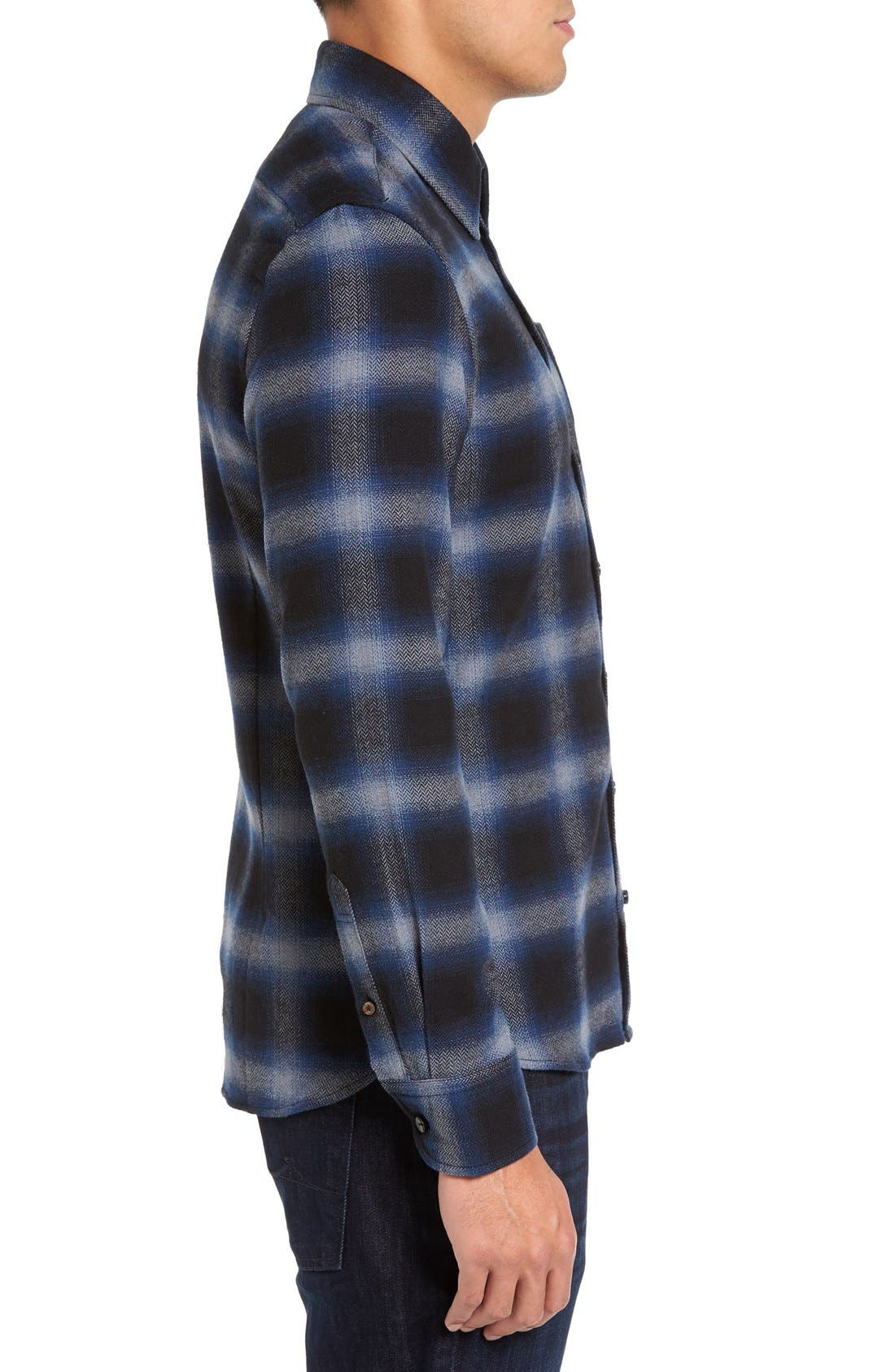 Michael Slim Fit Plaid Flannel Shirt,                             Alternate thumbnail 3, color,                             Blue
