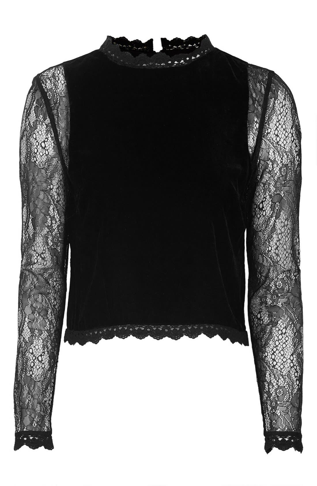 Alternate Image 3  - Topshop Lace Sleeve Velvet Top