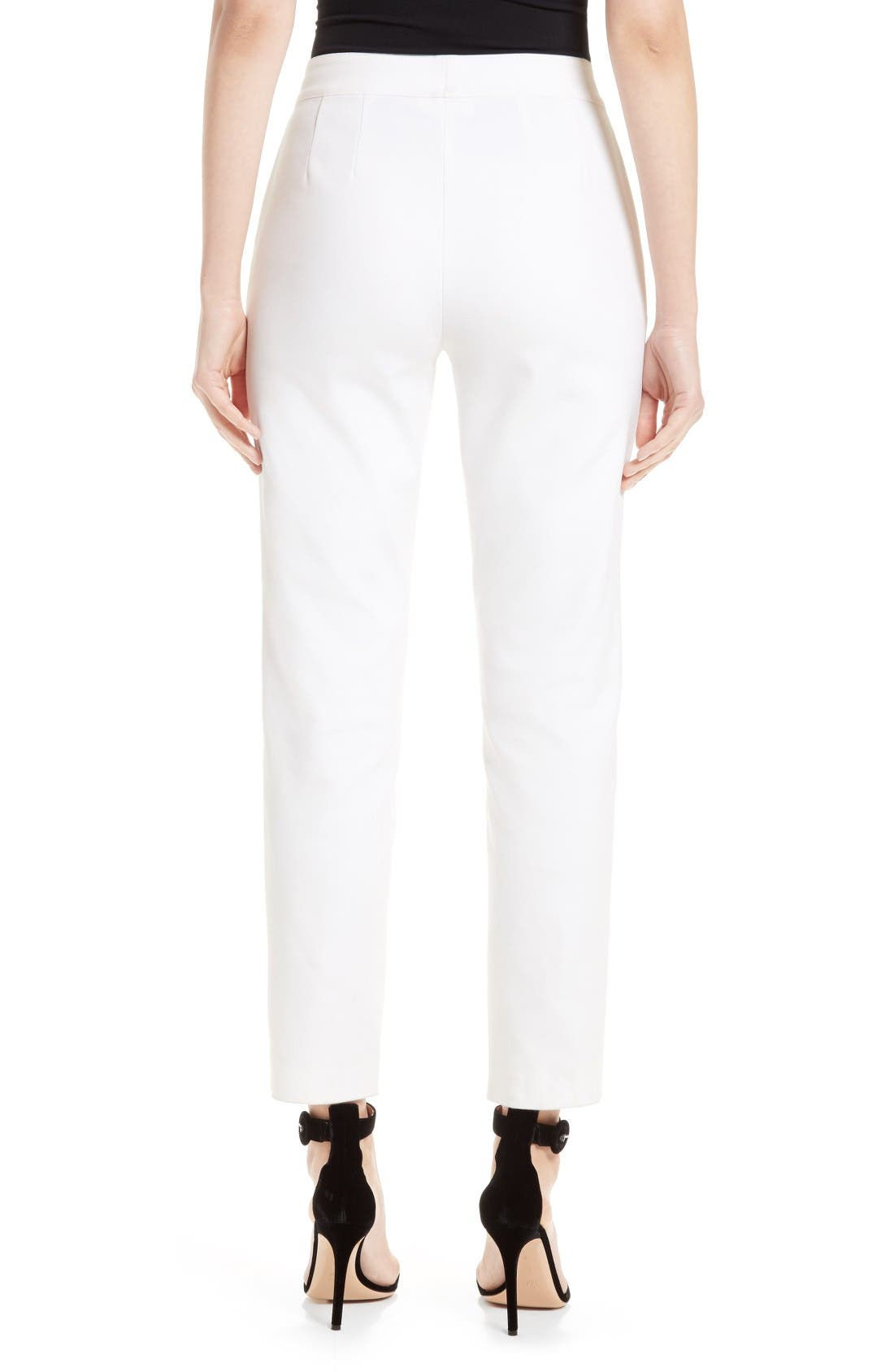 Emma Stretch Micro Ottoman Crop Pants,                             Alternate thumbnail 2, color,                             Bianco