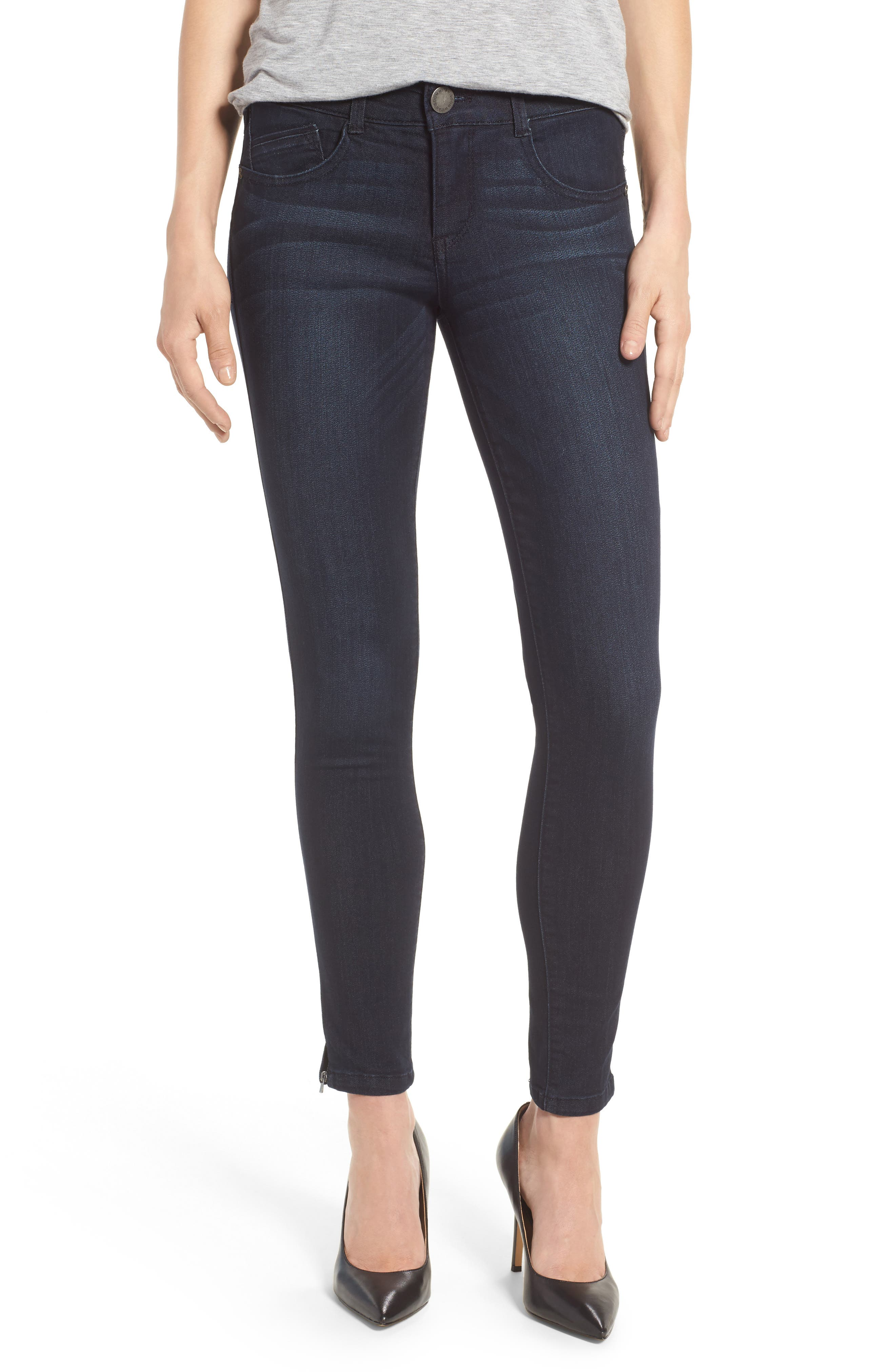Ab-solution Ankle Zip Skinny Jeans,                             Main thumbnail 1, color,                             Indigo