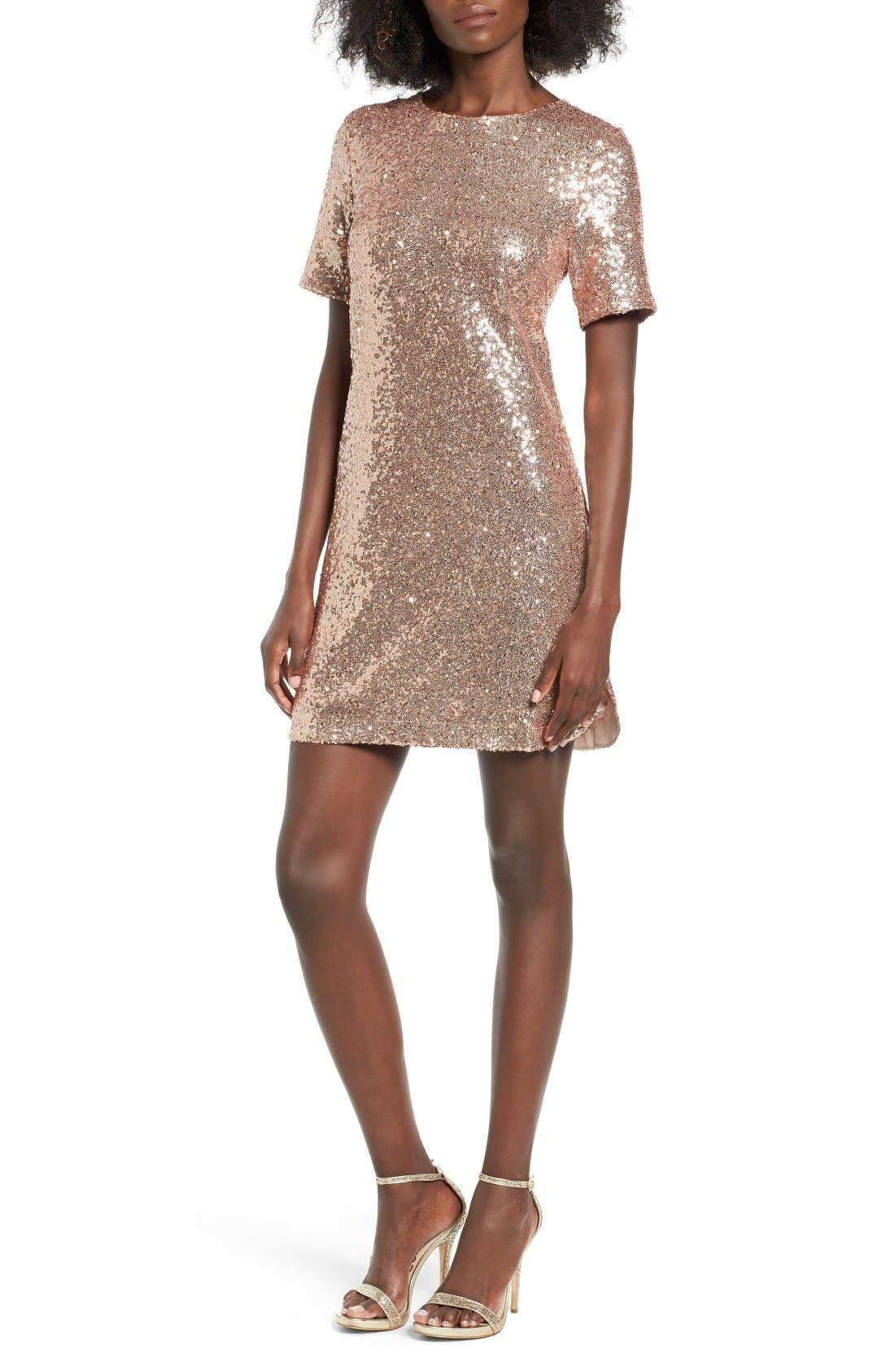 Sequin T-Shirt Dress,                         Main,                         color, Blush