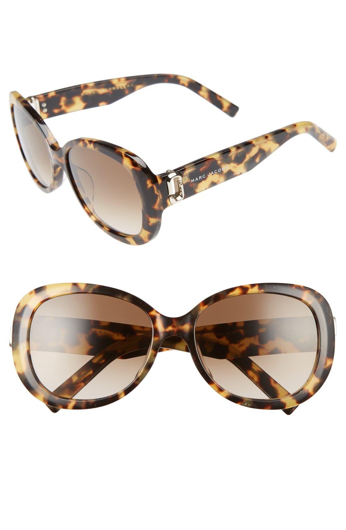56mm Sunglasses,                         Main,                         color, Glitter Havana