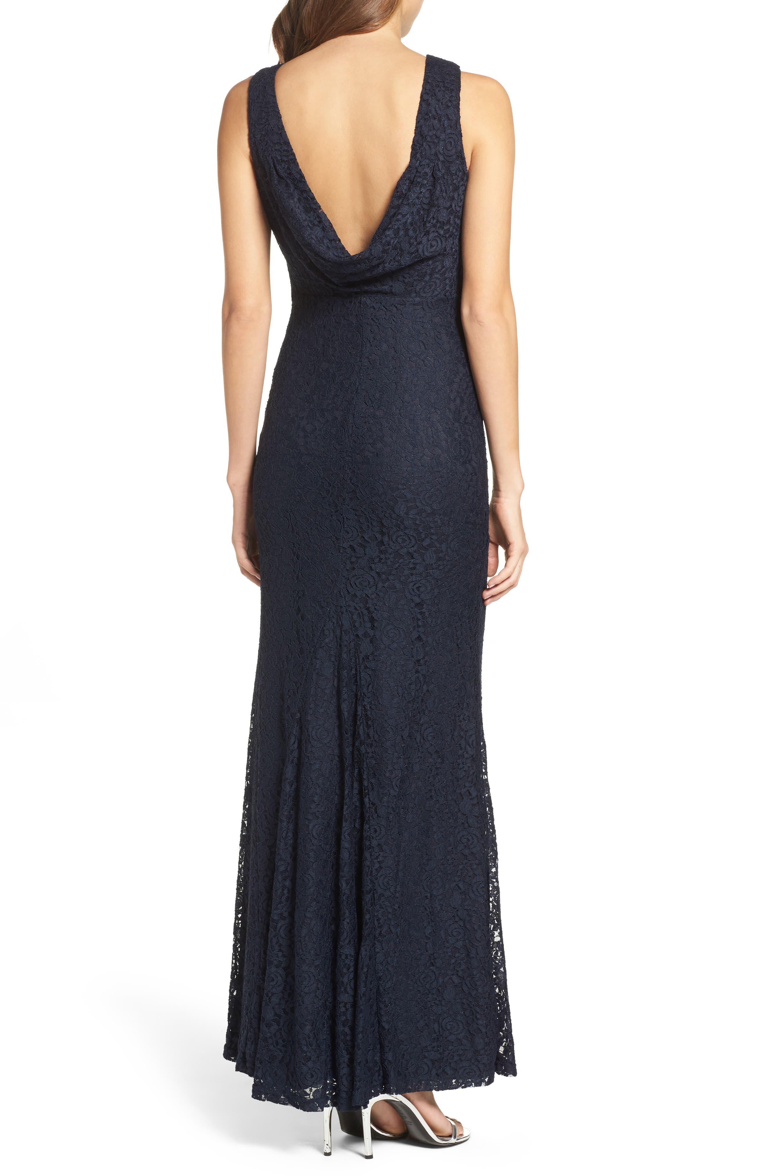 Alternate Image 2  - Lulus Cowl Back Lace Mermaid Gown