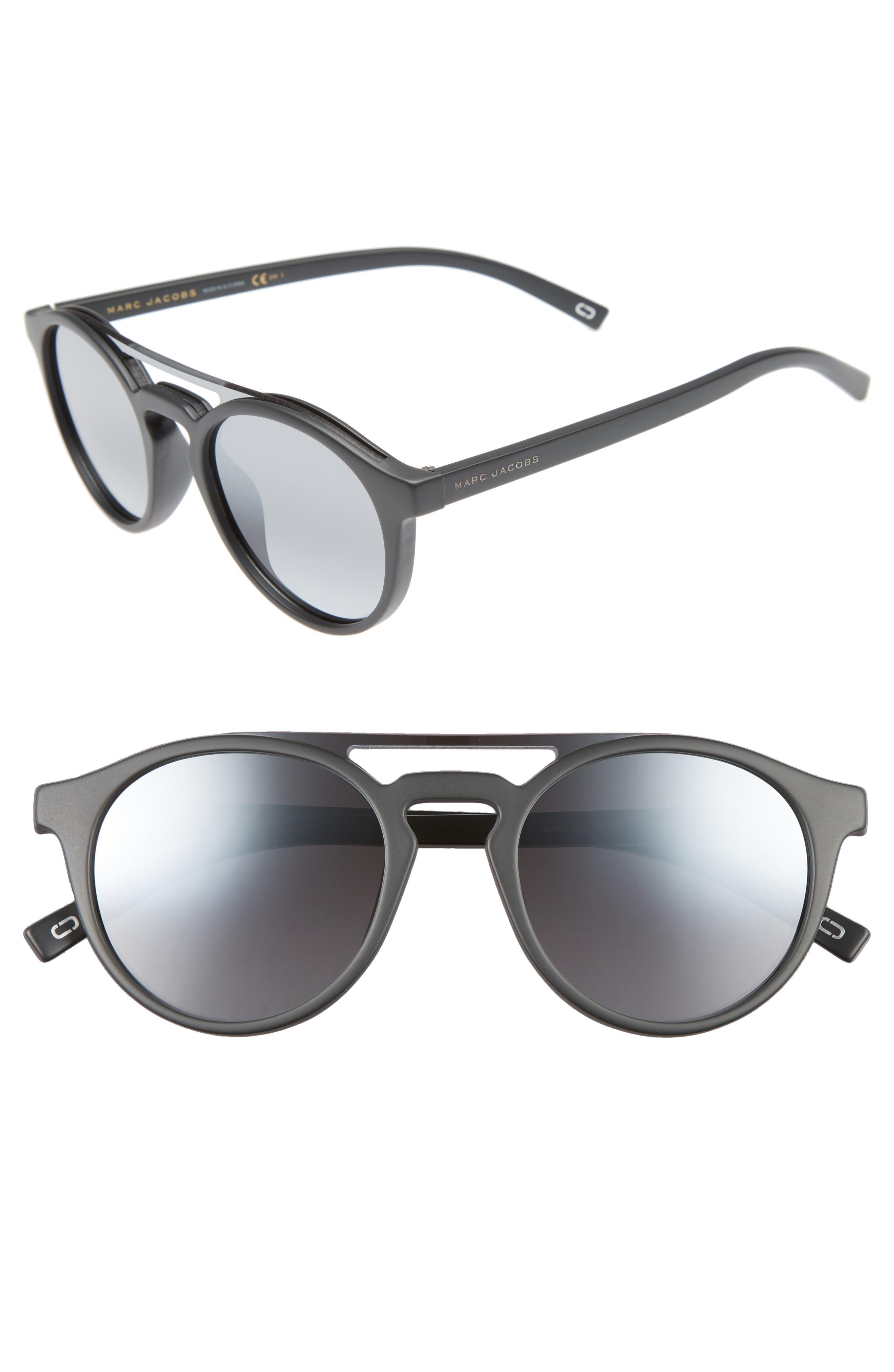 99mm Round Brow Bar Sunglasses,                         Main,                         color, Dark Grey