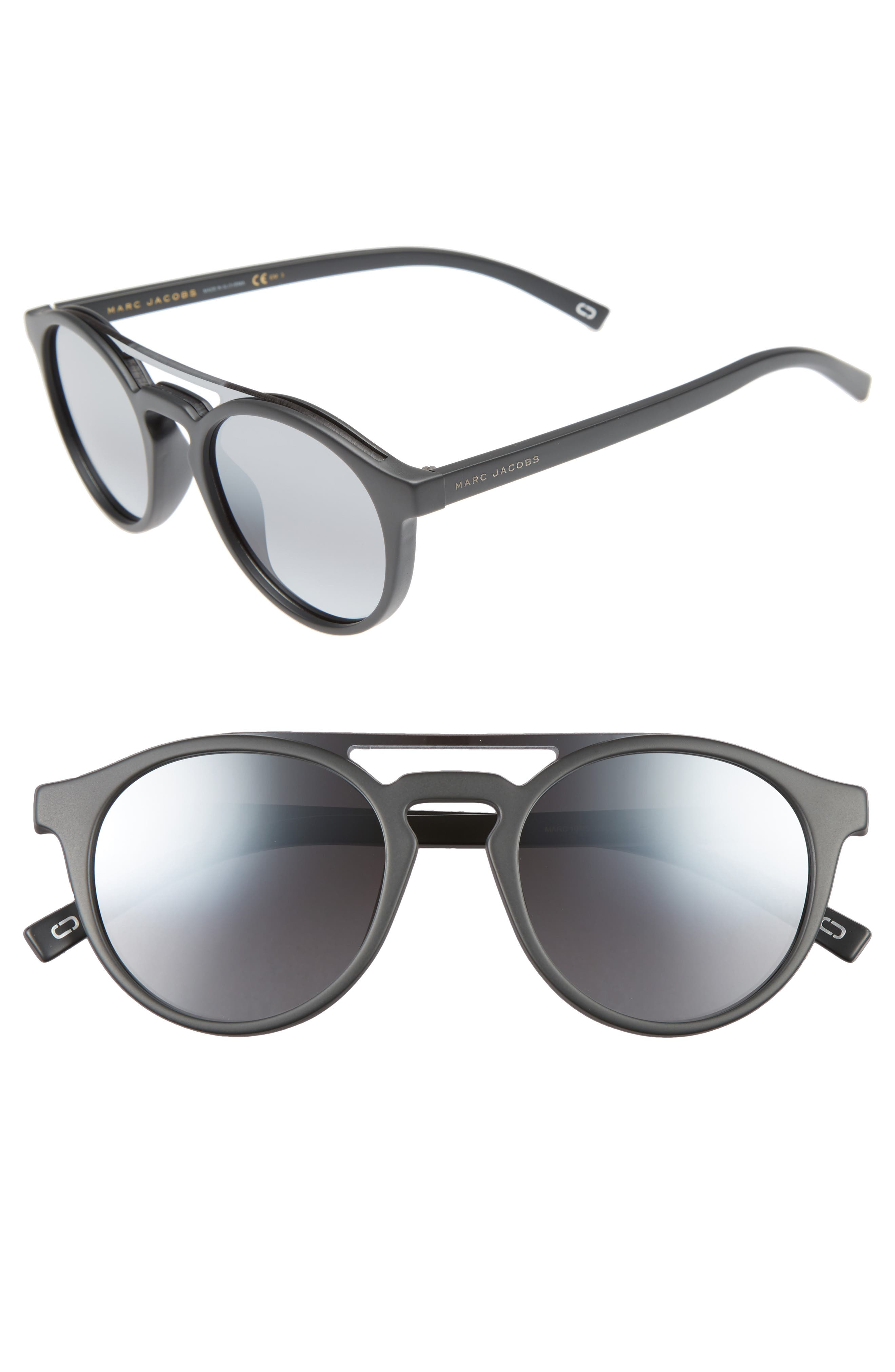 MARC JACOBS 99mm Round Brow Bar Sunglasses