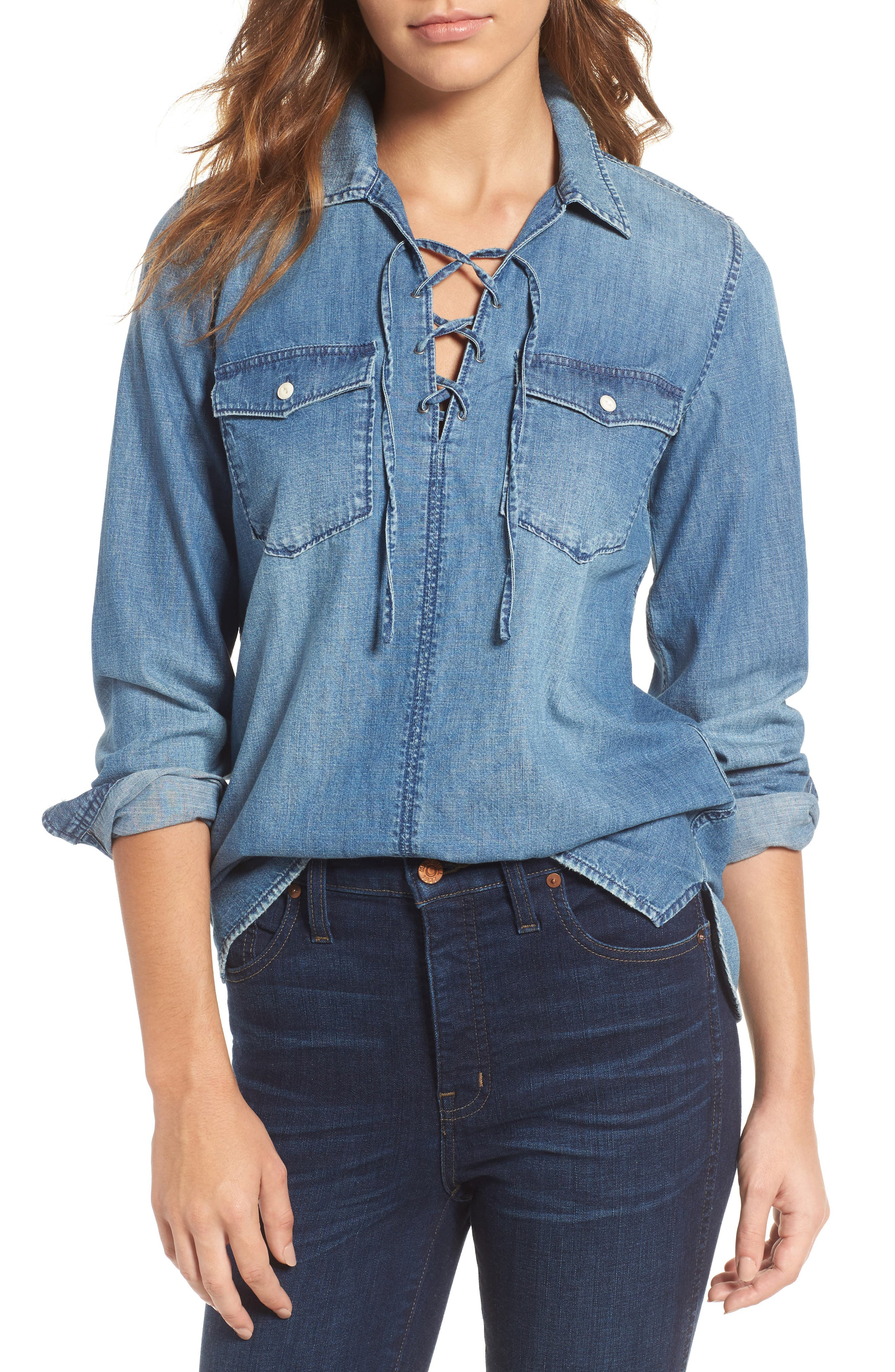 Alternate Image 1 Selected - Madewell Lace-Up Denim Shirt
