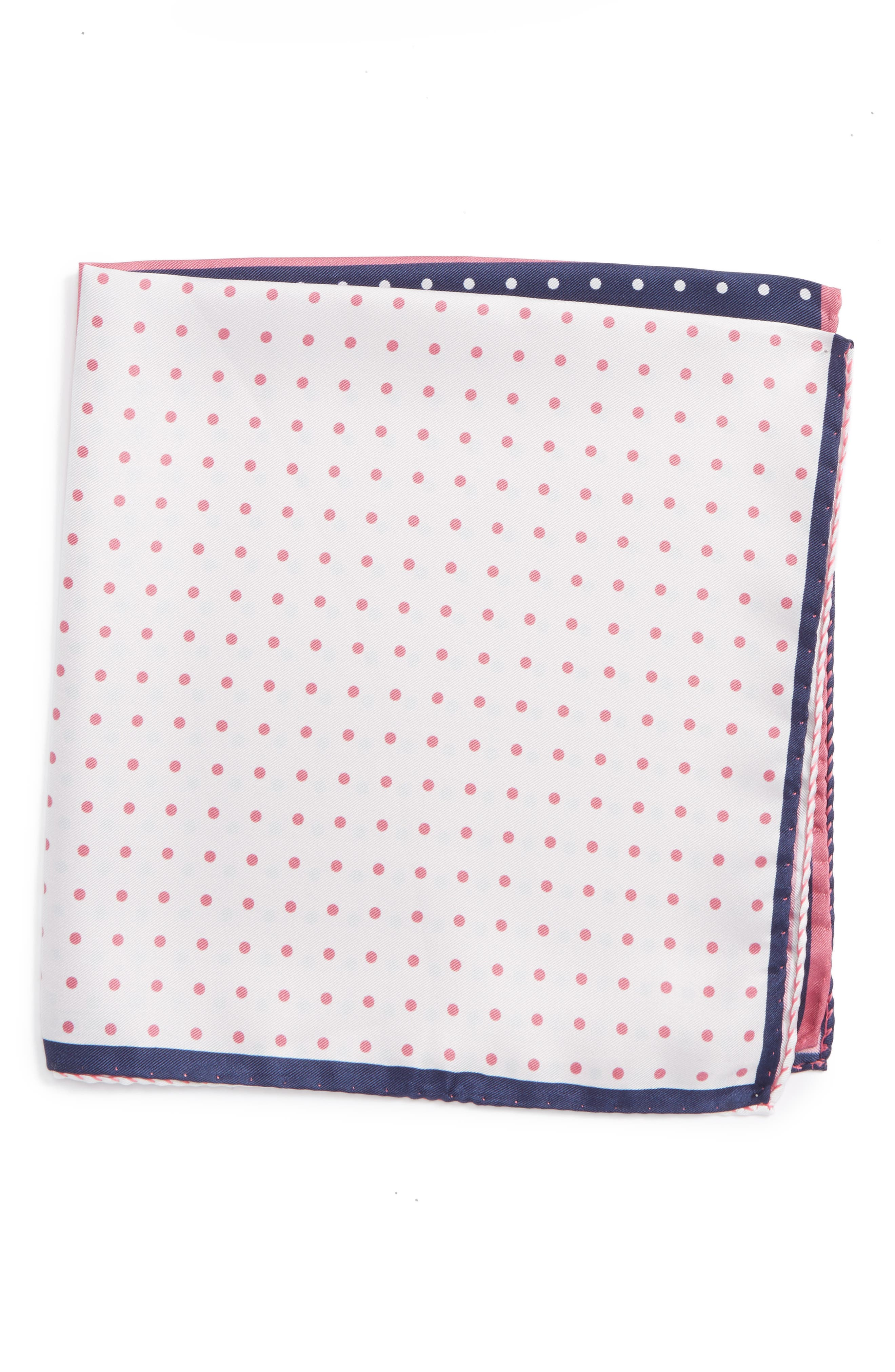 NORDSTROM MENS SHOP Four Panel Dot Silk Pocket Square