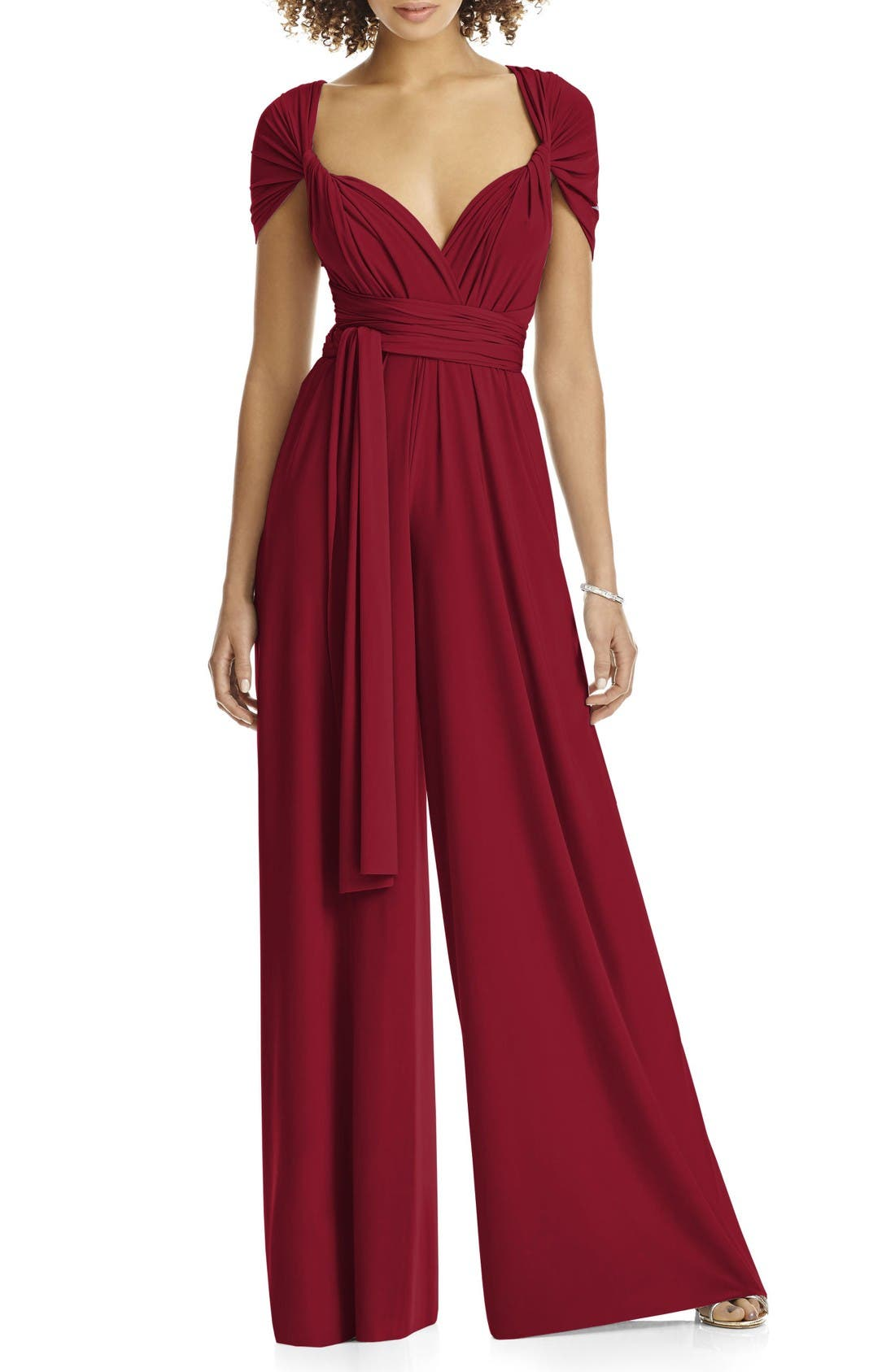 Dessy Collection Convertible Wide Leg Jersey Jumpsuit (Regular & Plus)