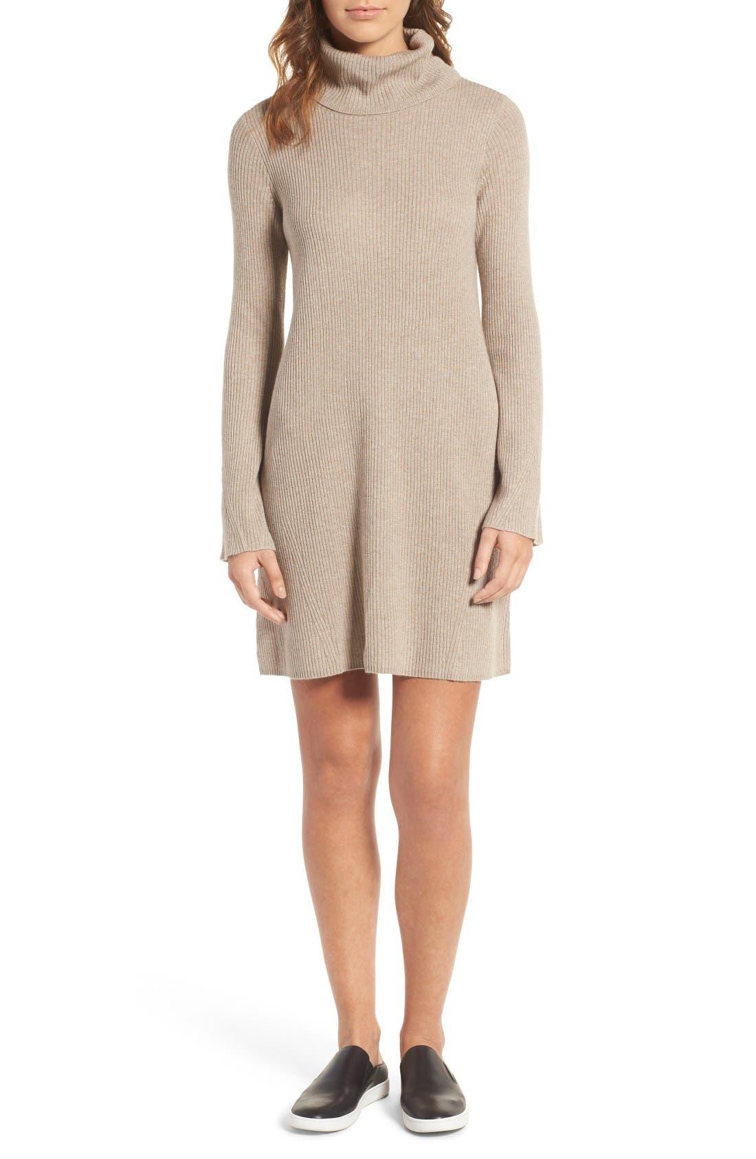 Turtleneck Sweater Dress,                             Main thumbnail 1, color,                             Heather Hazelwood