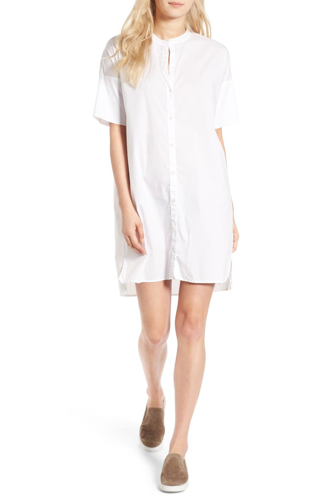 Rolled Sleeve Shirtdress,                             Main thumbnail 1, color,                             White