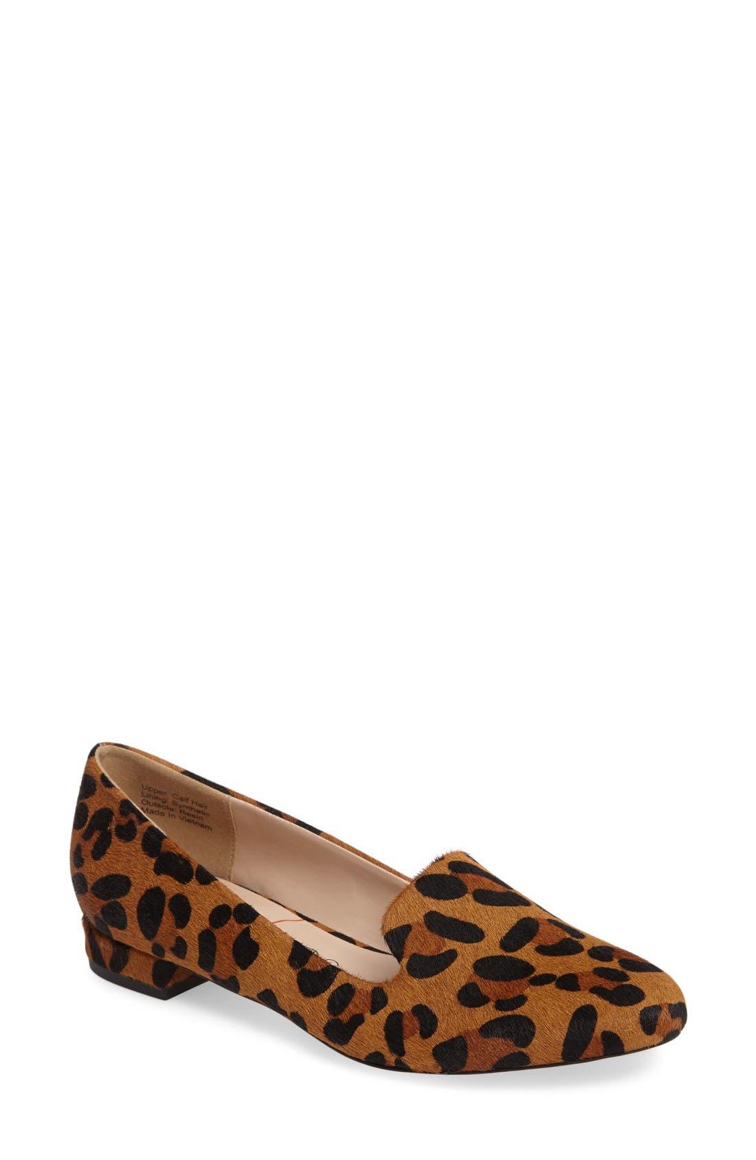 Nitsa Genuine Calf Hair Loafer,                             Main thumbnail 1, color,                             Leopard