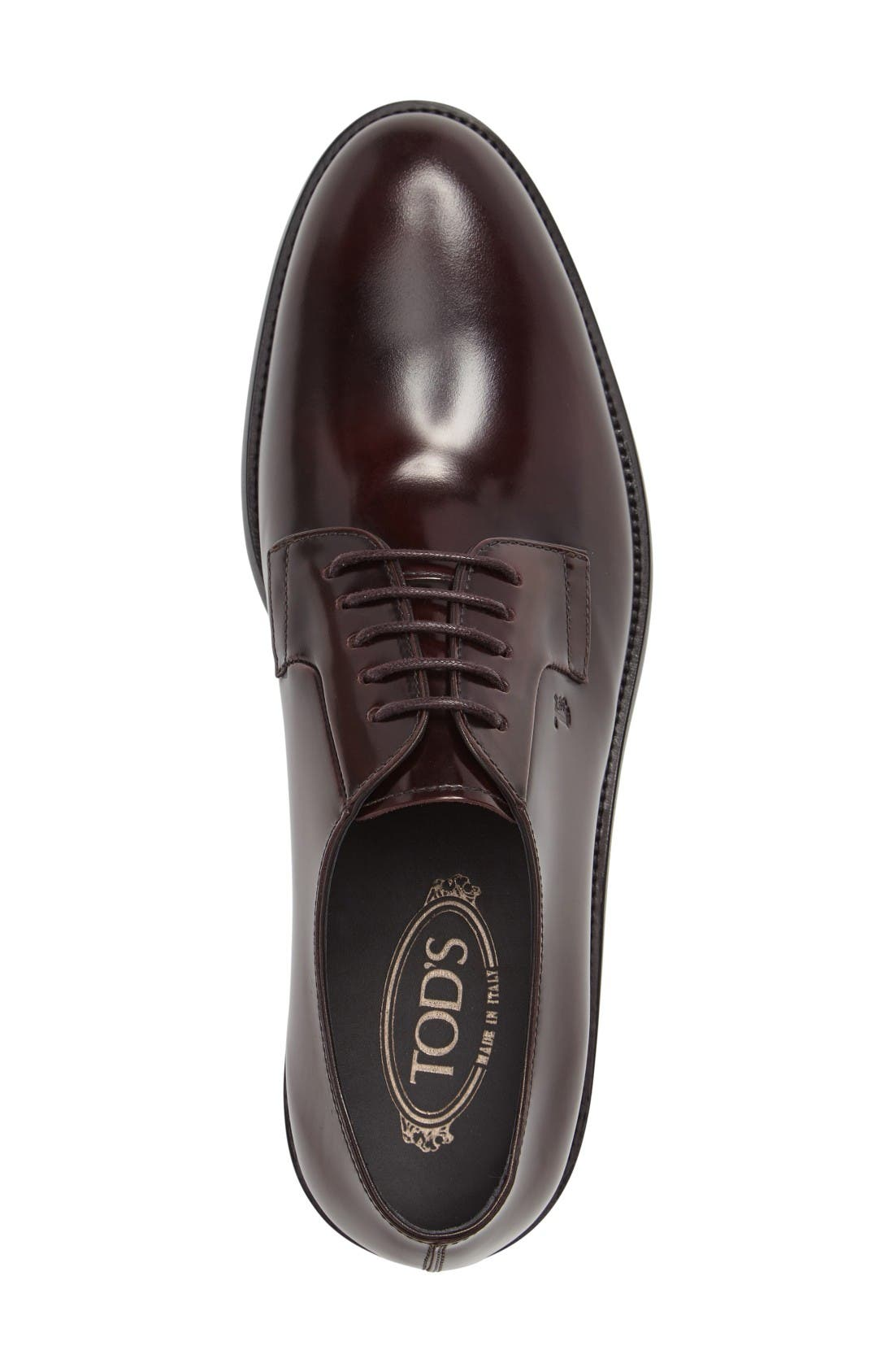 Plain Toe Derby,                             Alternate thumbnail 3, color,                             Burgundy Leather