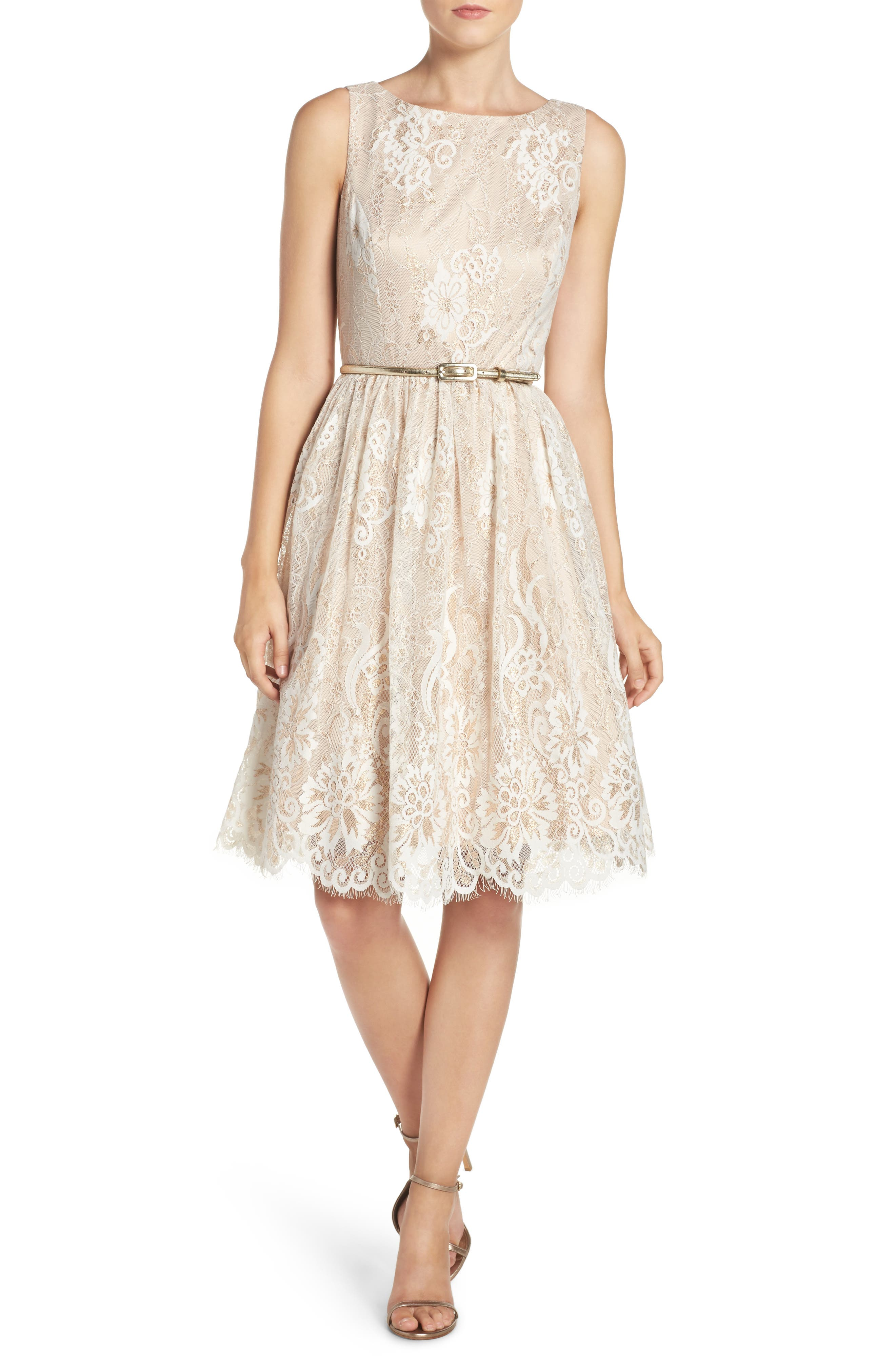 Alternate Image 4  - Eliza J Belted Lace Fit & Flare Dress