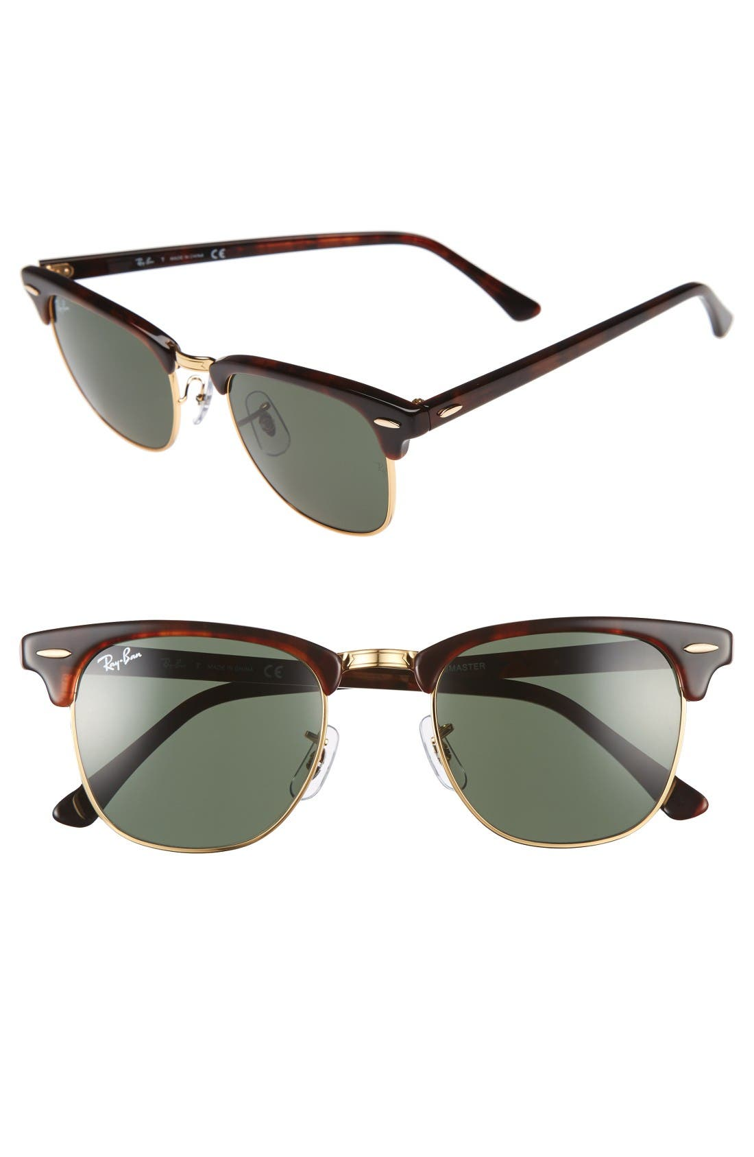 'Clubmaster' 49mm Sunglasses,                             Main thumbnail 1, color,                             Tortoise/ Gold
