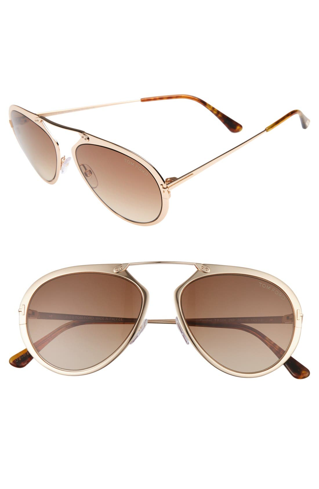 Dashel 55mm Sunglasses,                             Main thumbnail 1, color,                             Rose Gold/ Yellow/ Brown